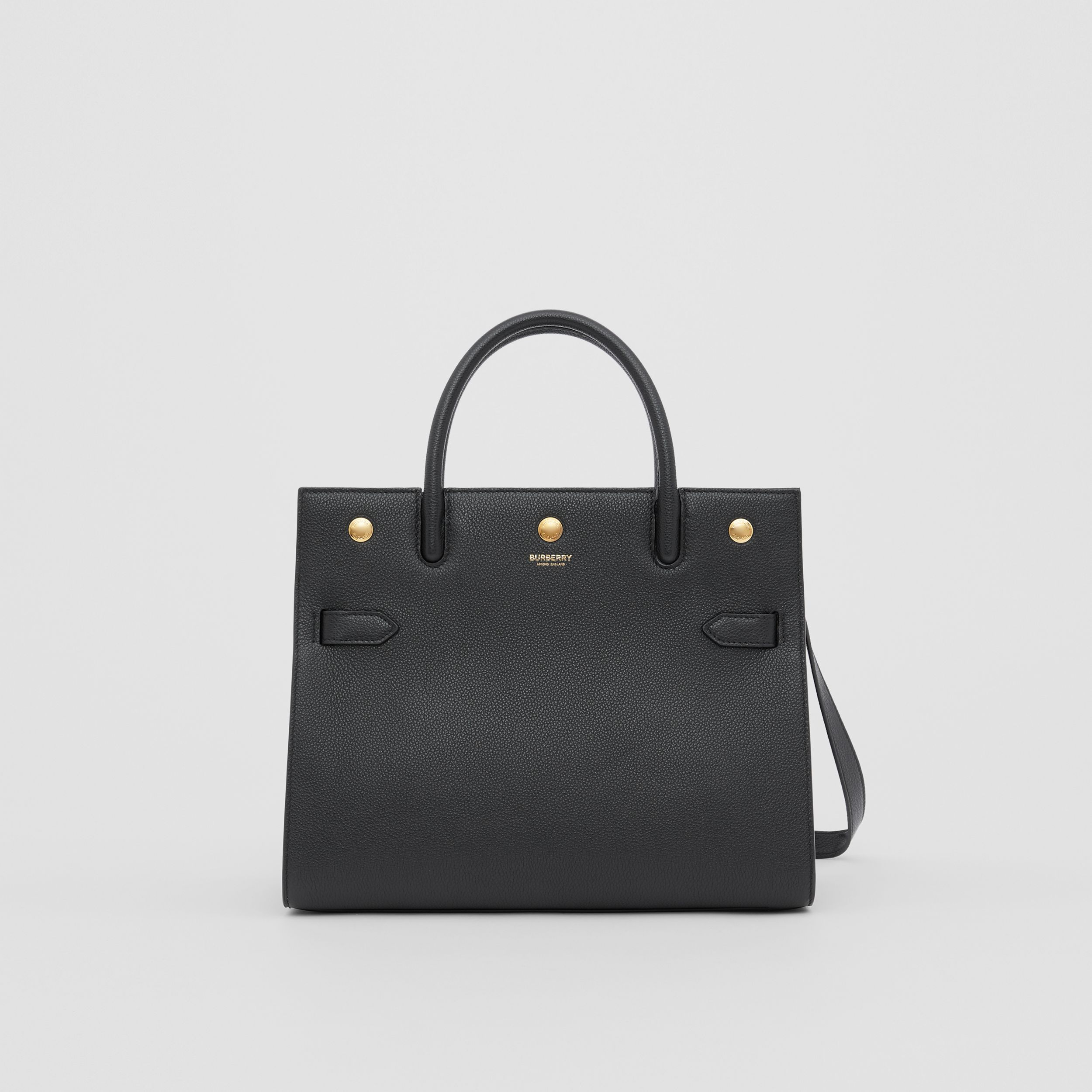 Small Leather Two-handle Title Bag in Black - Women | Burberry - 1