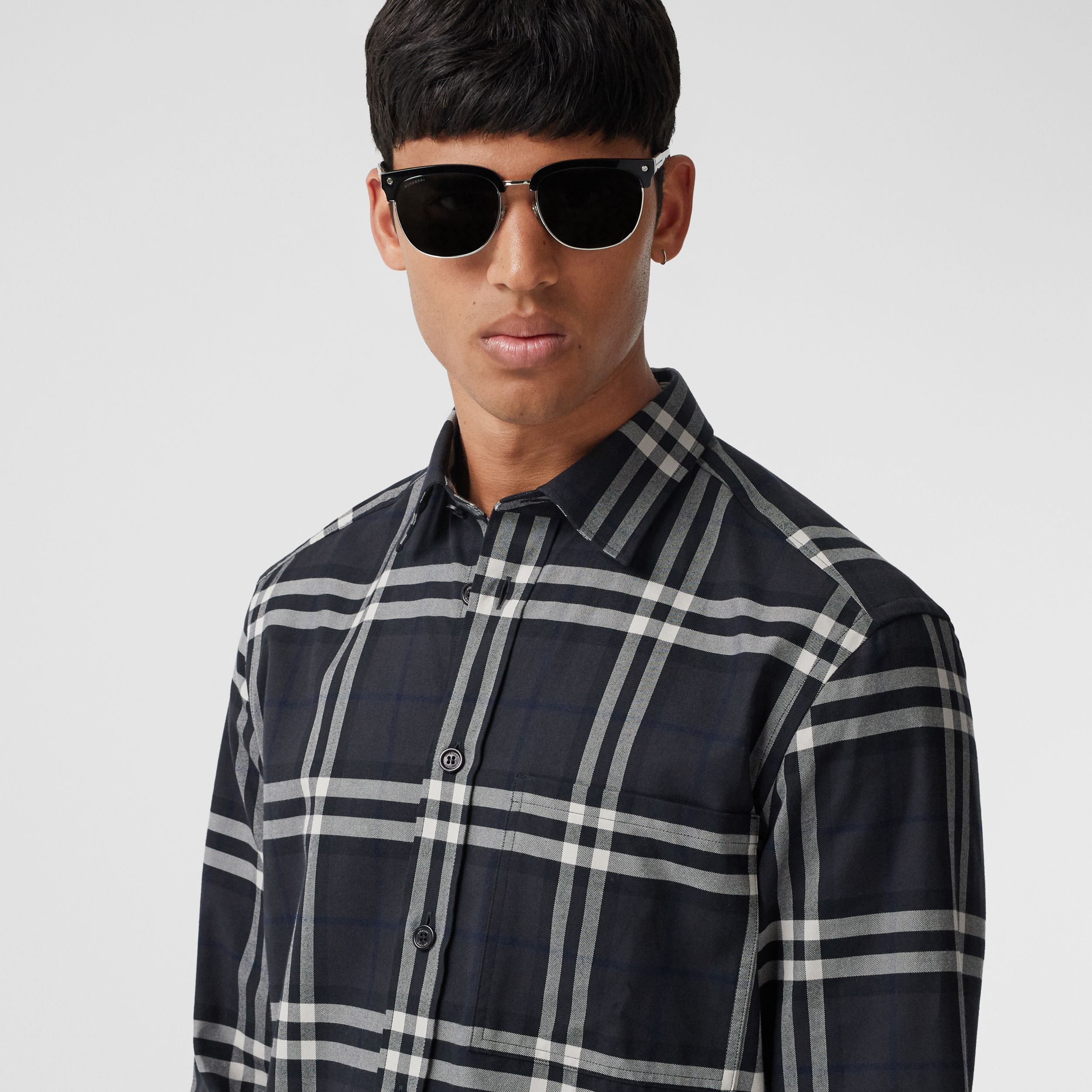 Vintage Check Cotton Flannel Shirt in Charcoal - Men | Burberry - 2