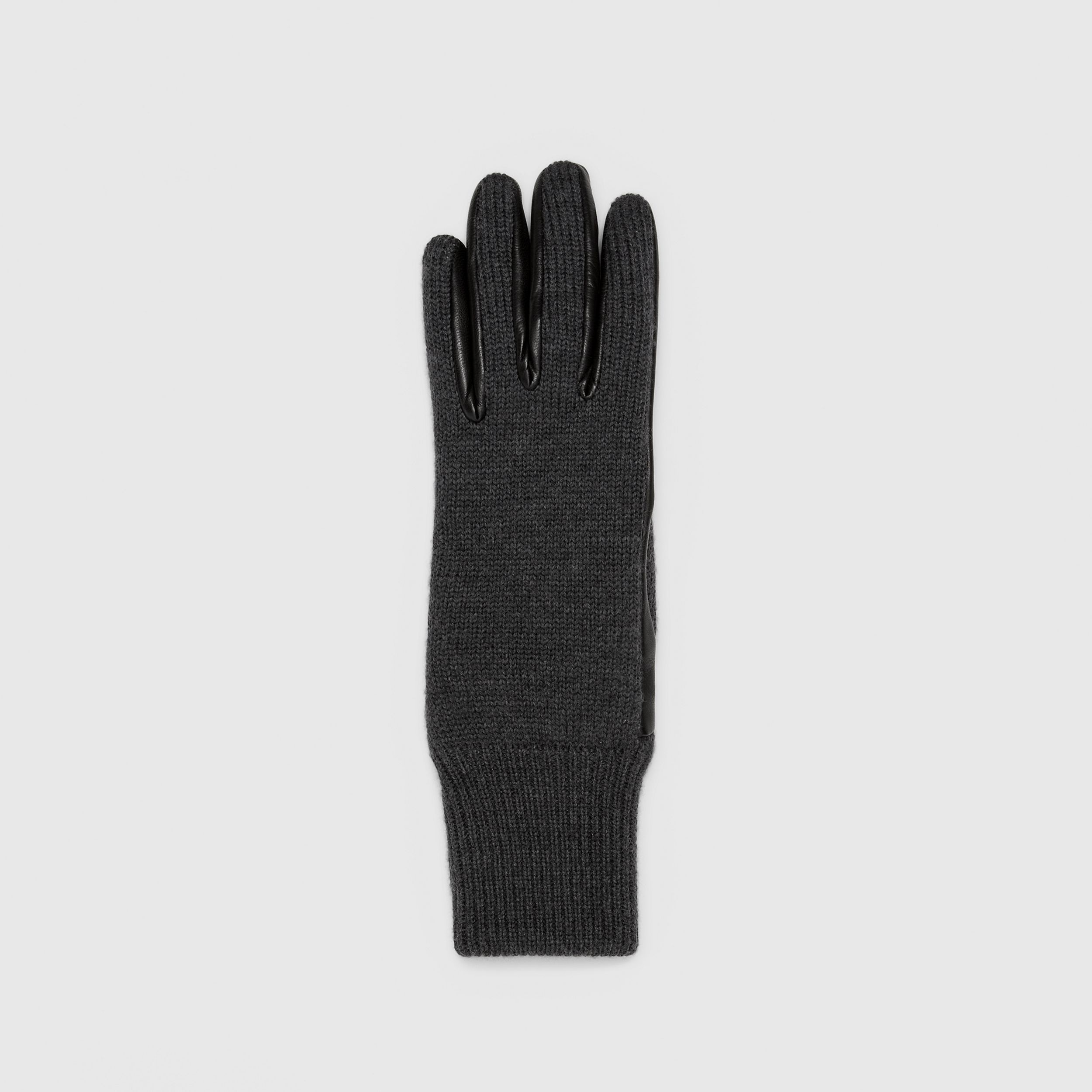 Cashmere-lined Merino Wool and Lambskin Gloves in Black | Burberry - 3