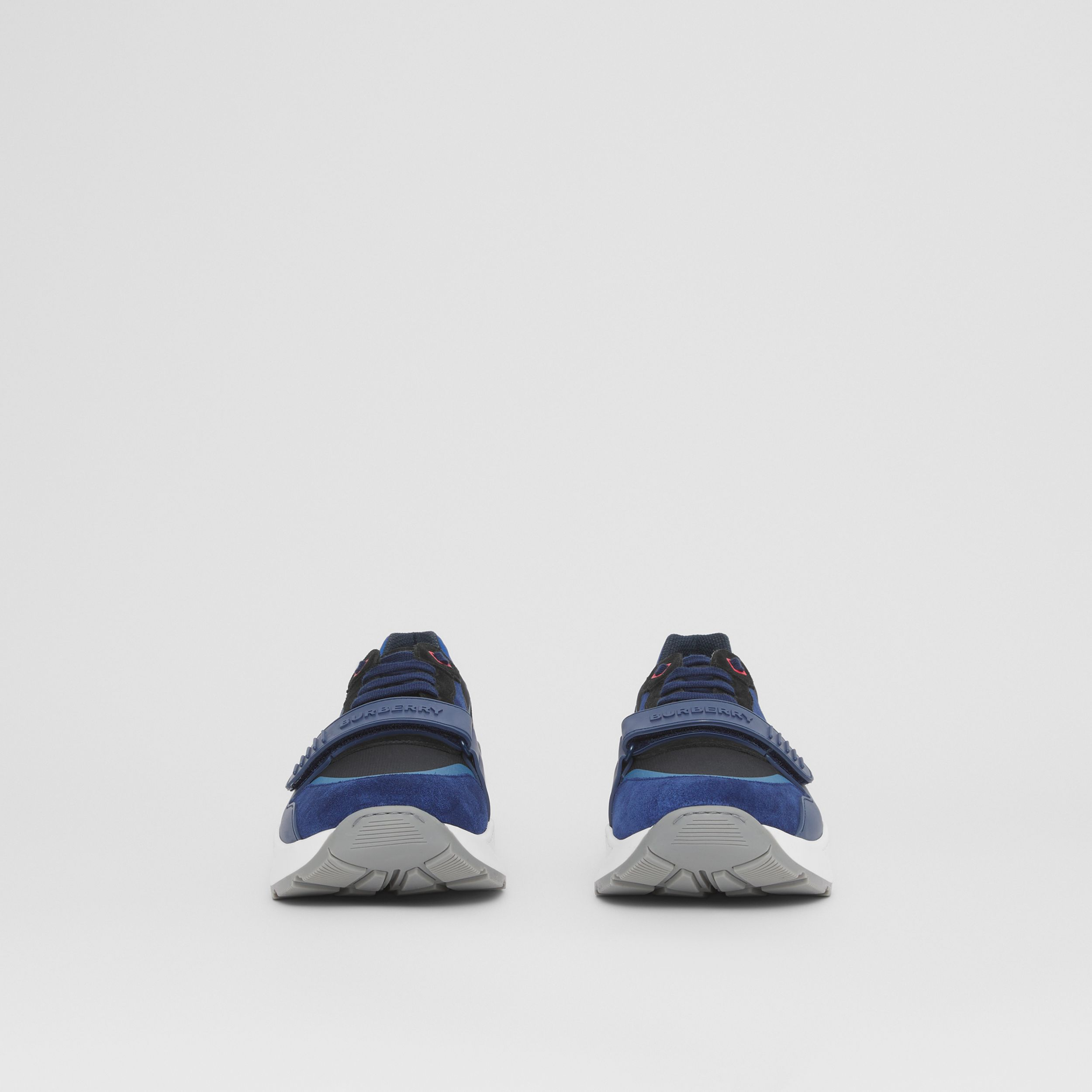 Suede and Leather Sneakers in White/blue/black - Men | Burberry Hong Kong S.A.R. - 4