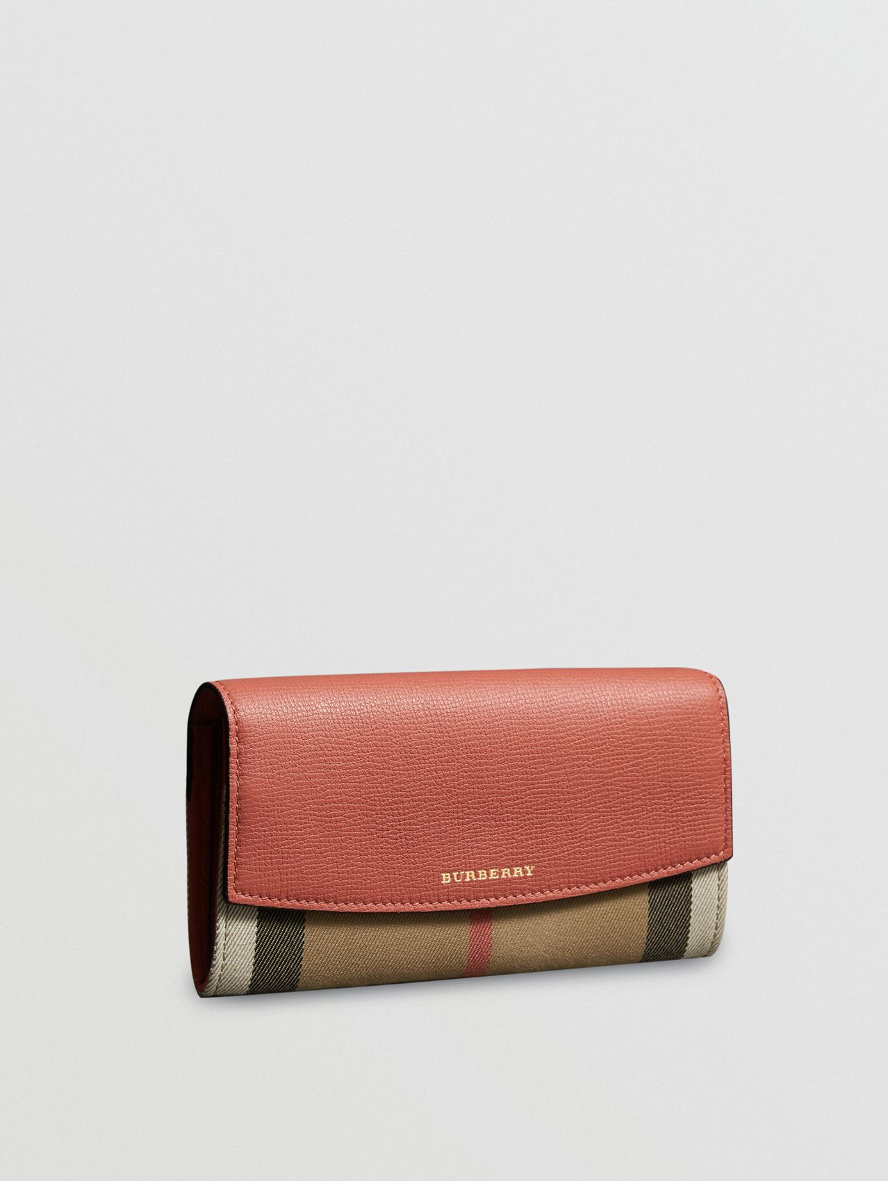 House Check and Leather Continental Wallet in Cinnamon Red