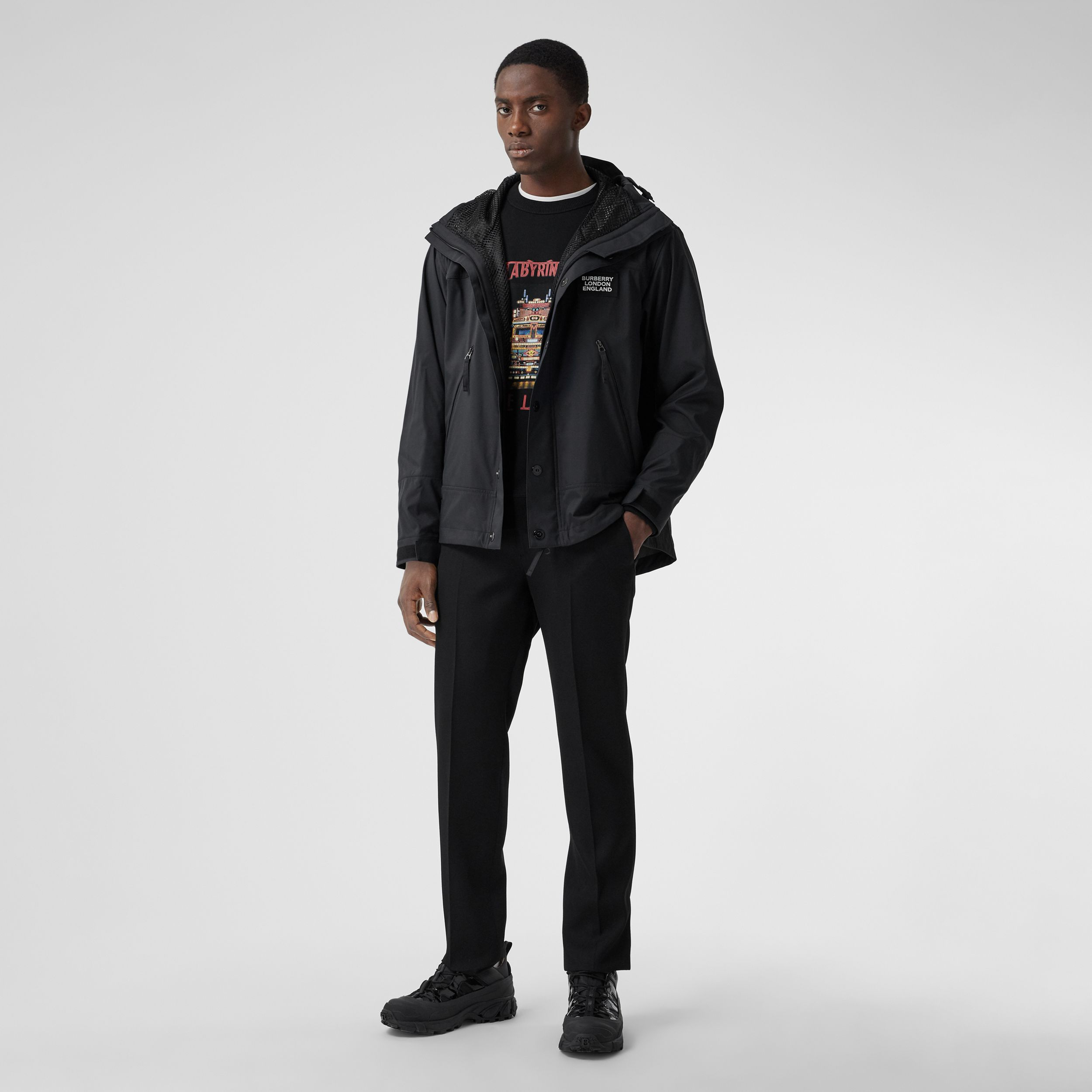 Logo Appliqué Technical Twill Hooded Jacket in Black - Men | Burberry - 1