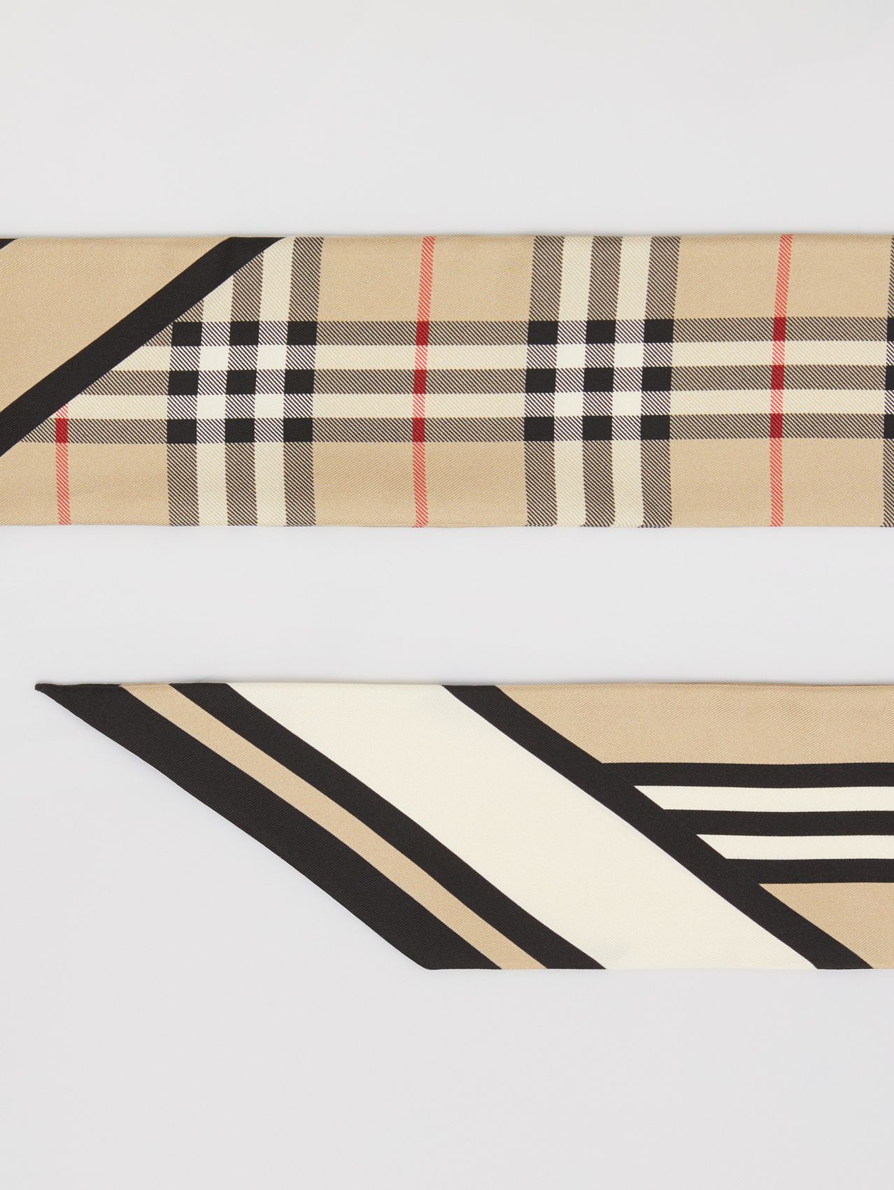 Montage Print Silk Skinny Scarf in Archive Beige