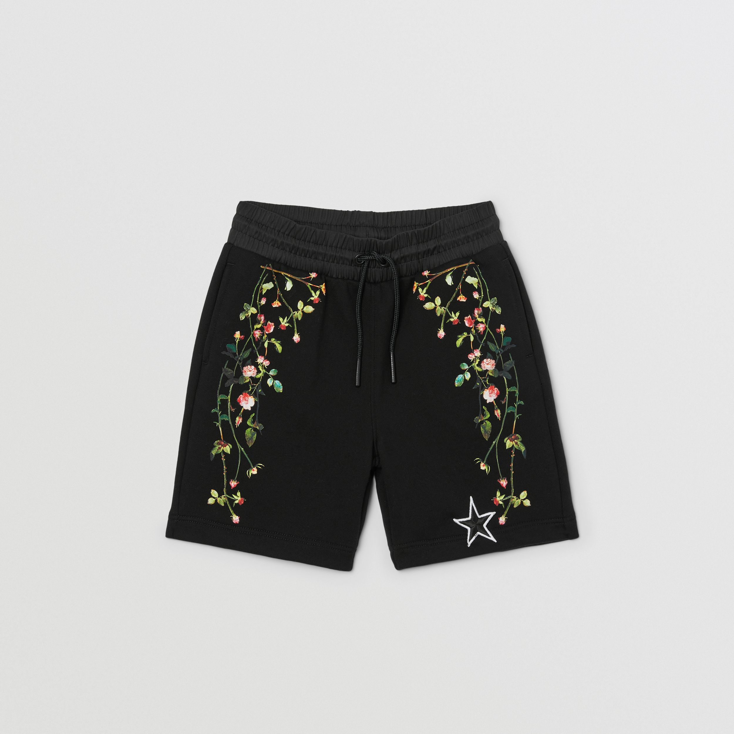 Logo Appliqué Rose Print Cotton Drawcord Shorts in Black | Burberry - 1