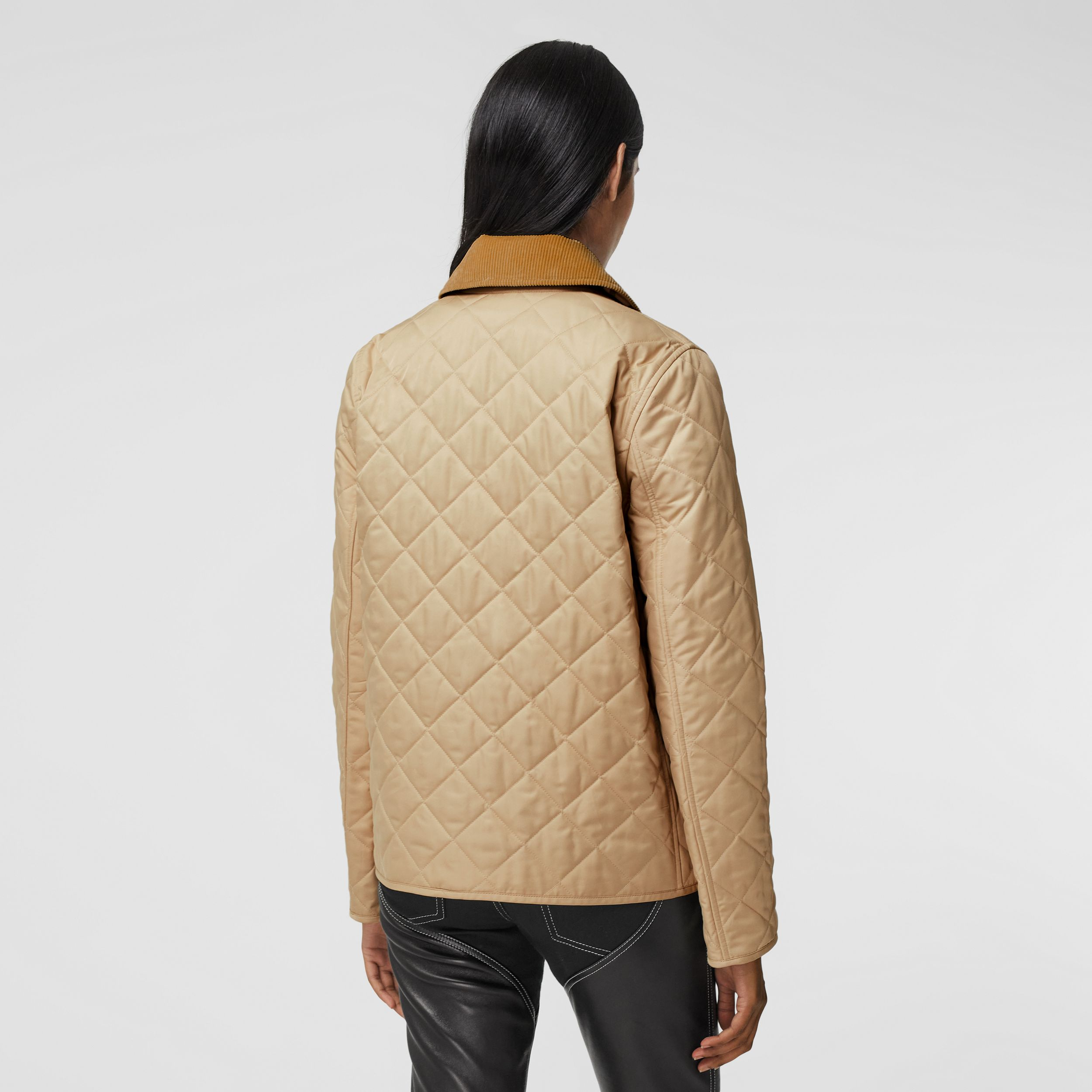 Corduroy Collar Diamond Quilted Jacket in Soft Fawn - Women | Burberry - 3