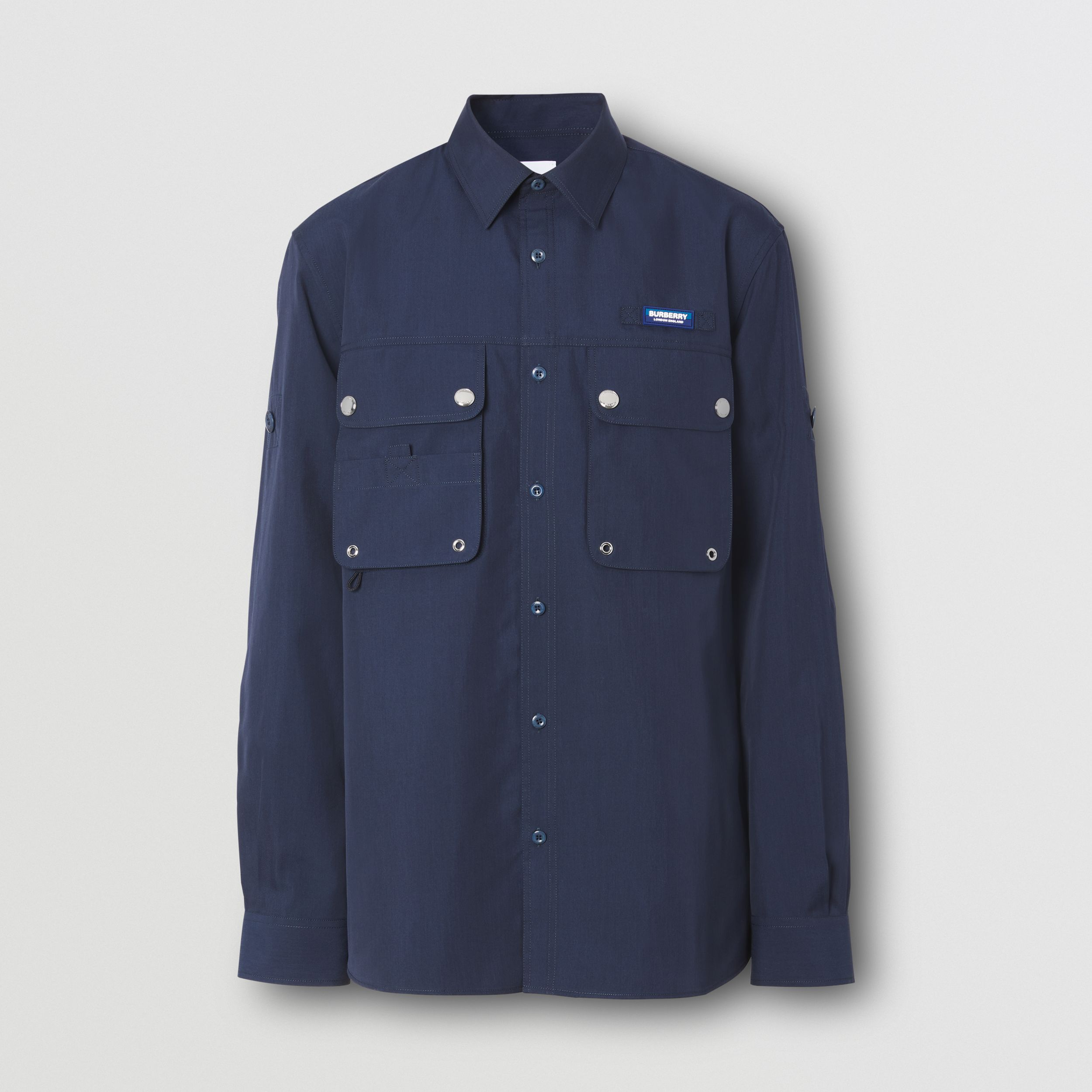 Logo Appliqué Cotton Silk Shirt in Ink Blue - Men | Burberry - 4