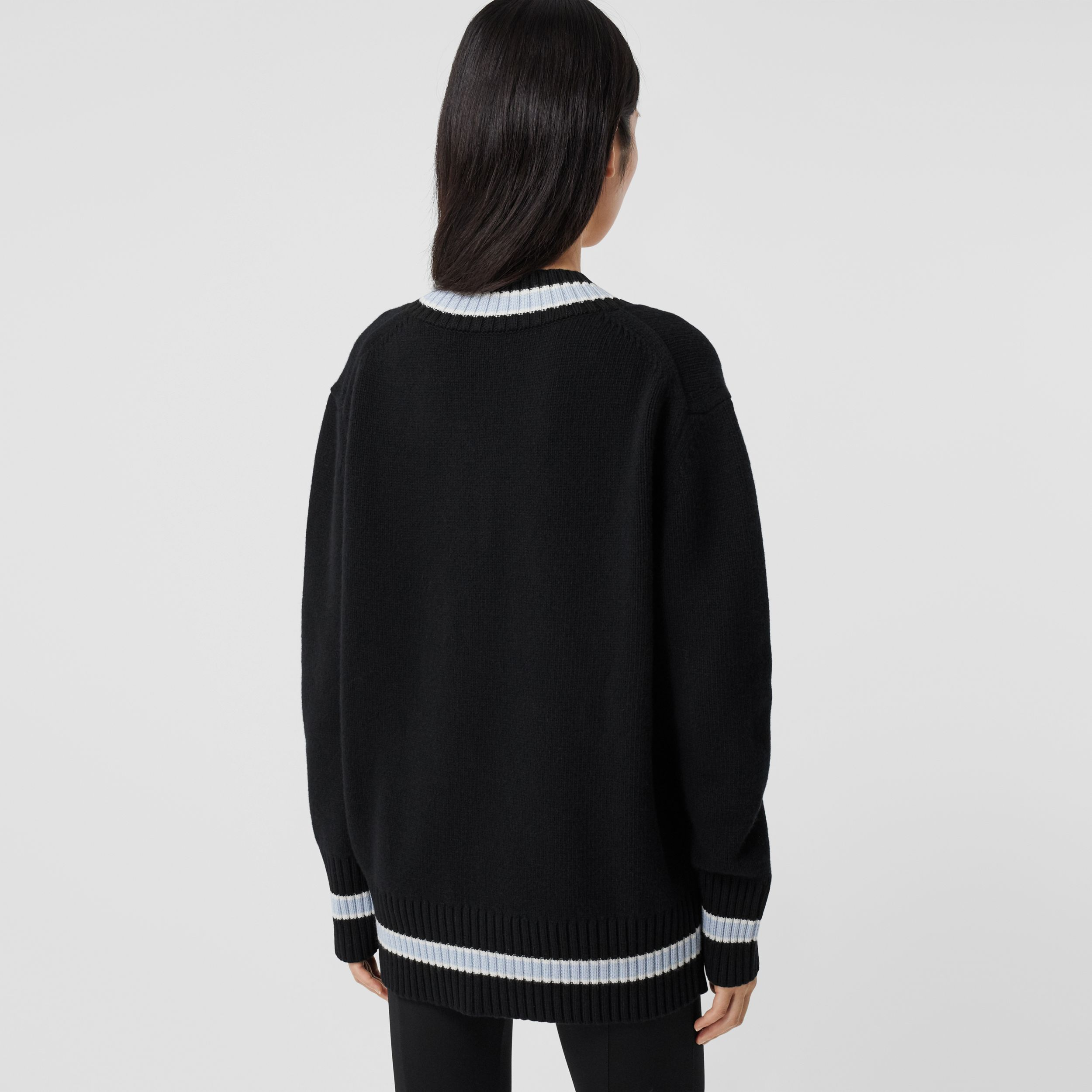 Wool Oversized Cricket Sweater in Black - Women | Burberry - 3