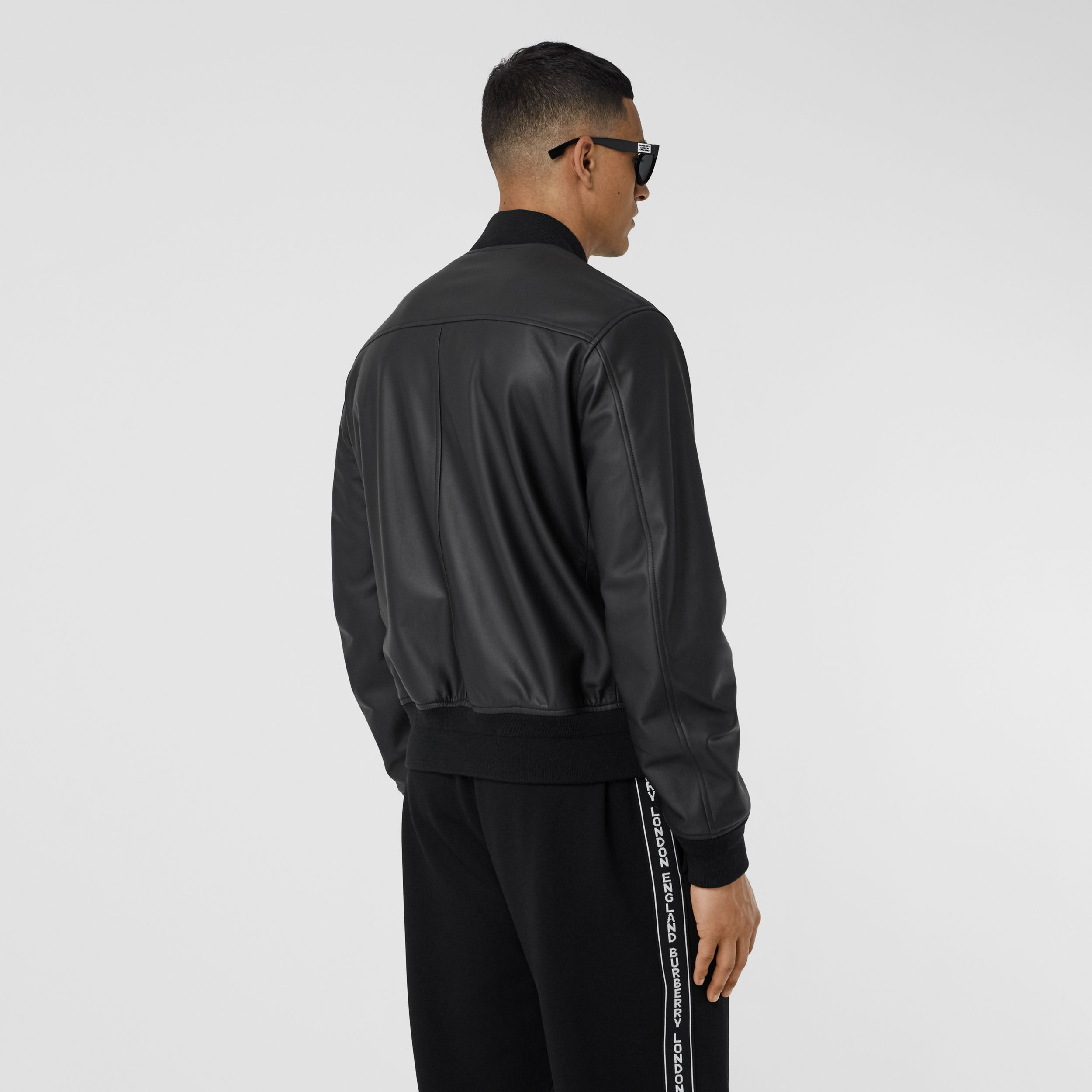 Logo Embossed Lambskin Bomber Jacket in Black - Men | Burberry - 3