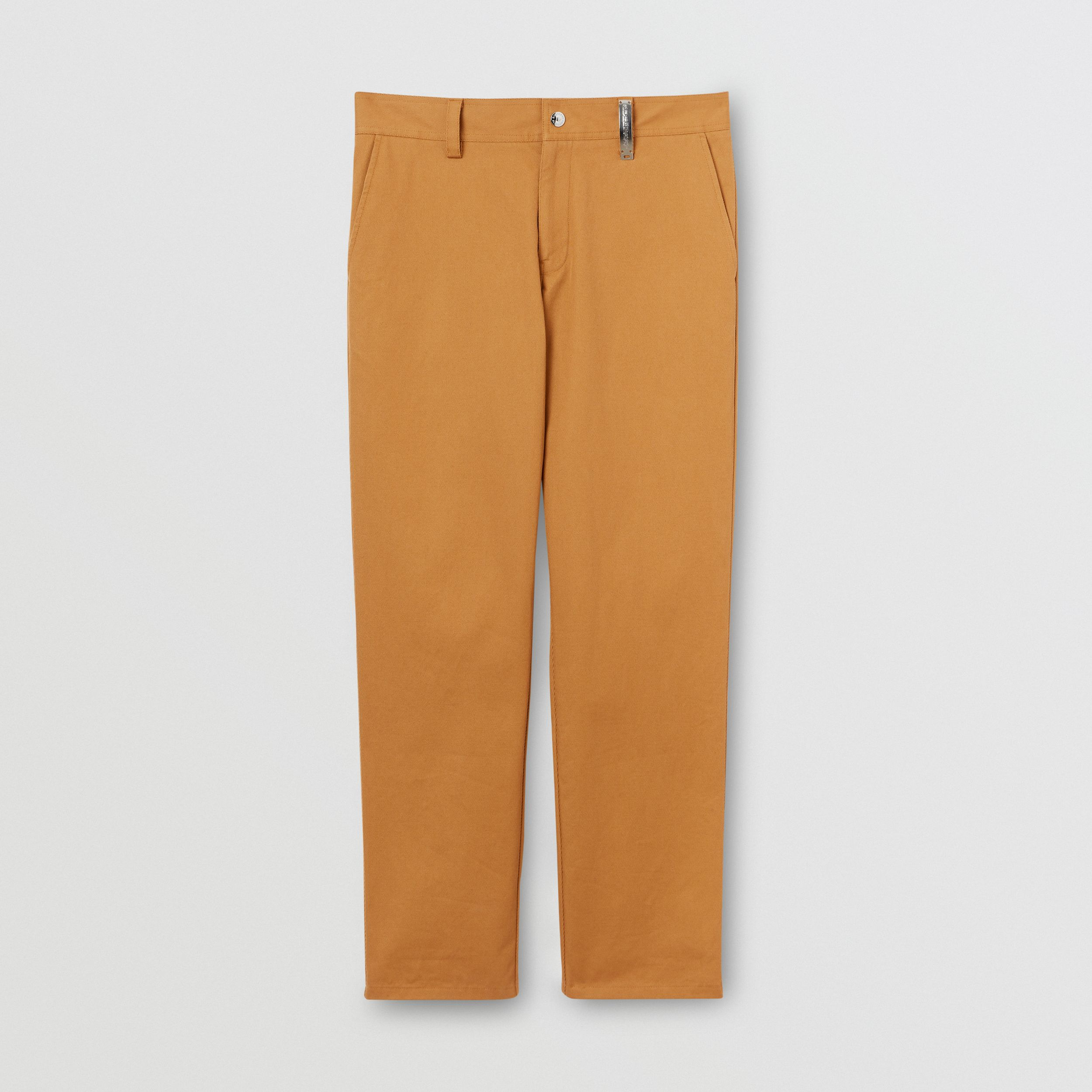Straight Fit Logo Detail Cotton Chinos in Camel - Men | Burberry - 4