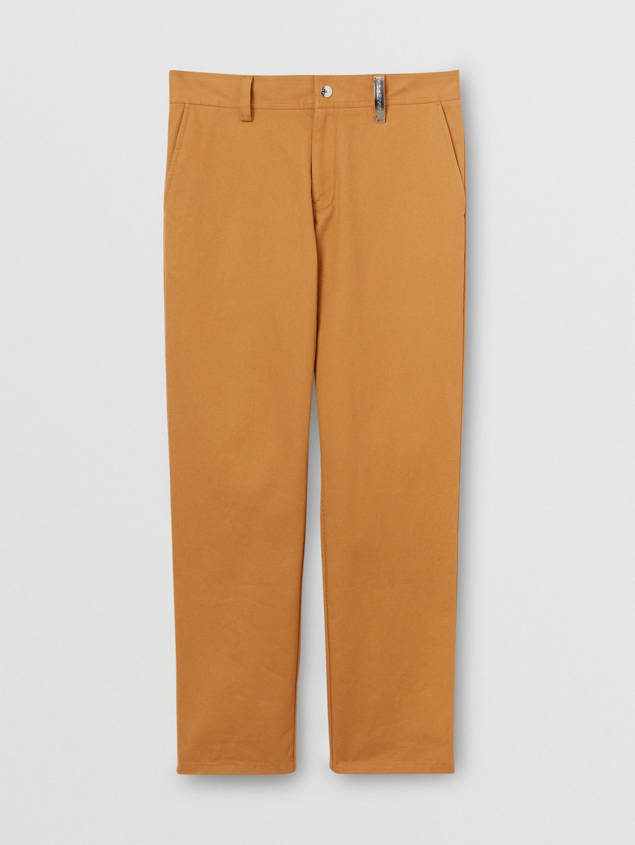 Straight Fit Logo Detail Cotton Chinos in Camel