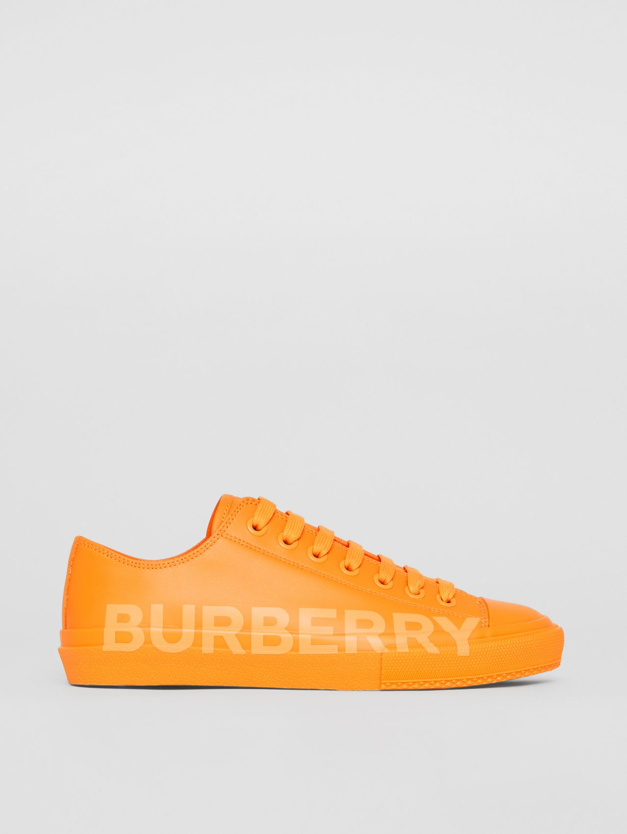 Logo Print Leather Sneakers – Online Exclusive in Deep Orange