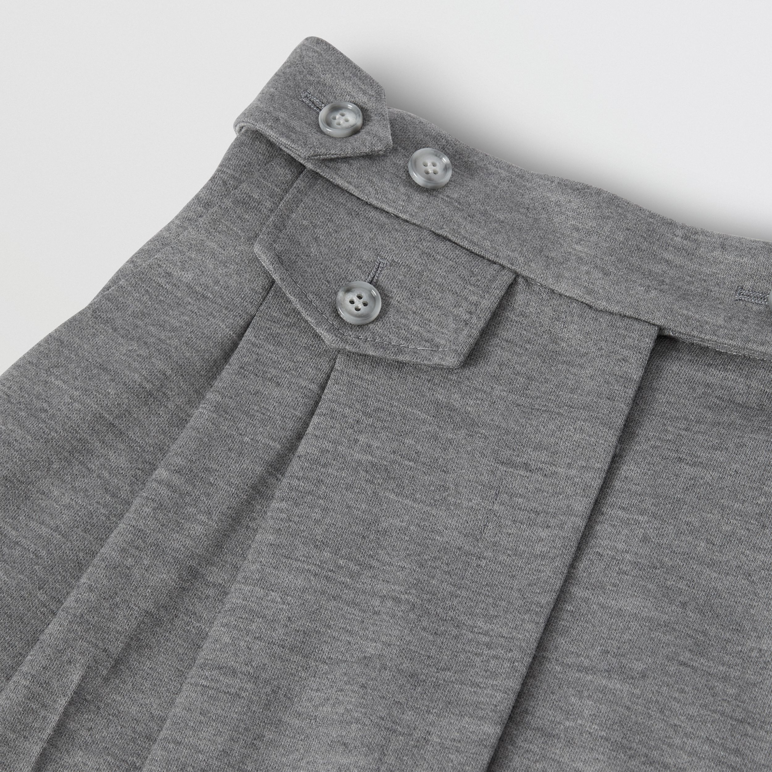 Cut-out Detail Wool Jersey Tailored Trousers in Cloud Grey - Women | Burberry - 4