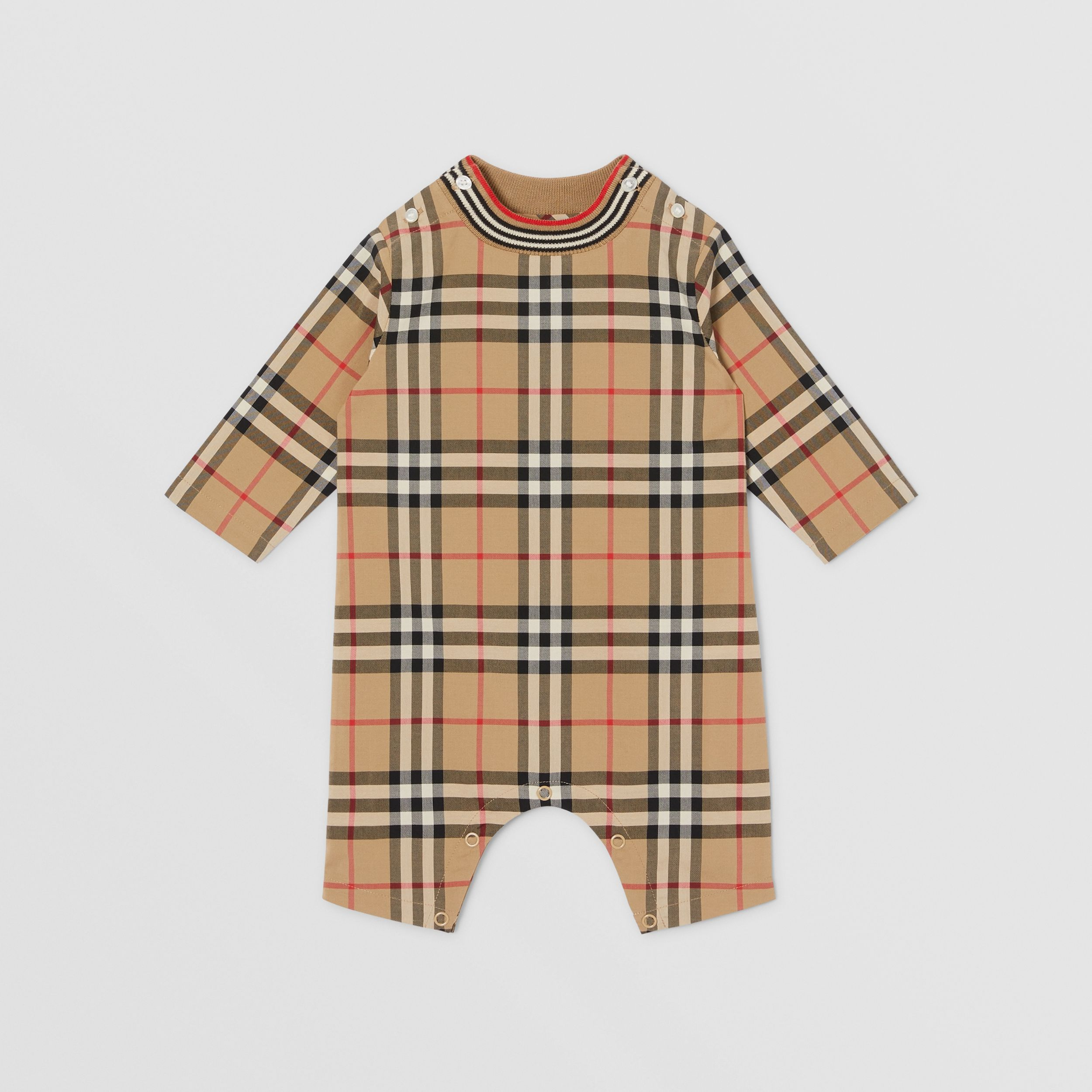Vintage Check Cotton Jumpsuit in Archive Beige - Children | Burberry - 1