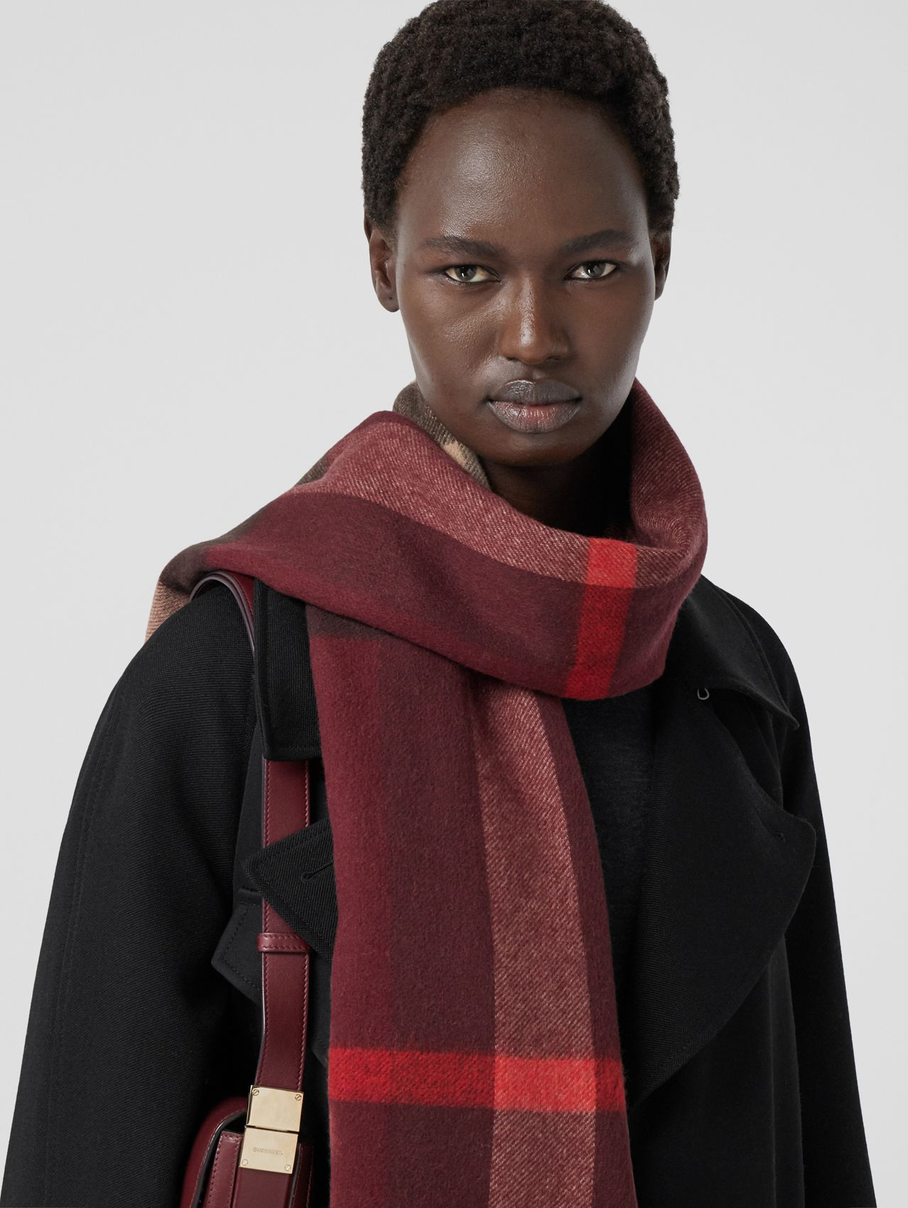 Reversible Check and Monogram Cashmere Scarf in Burgundy