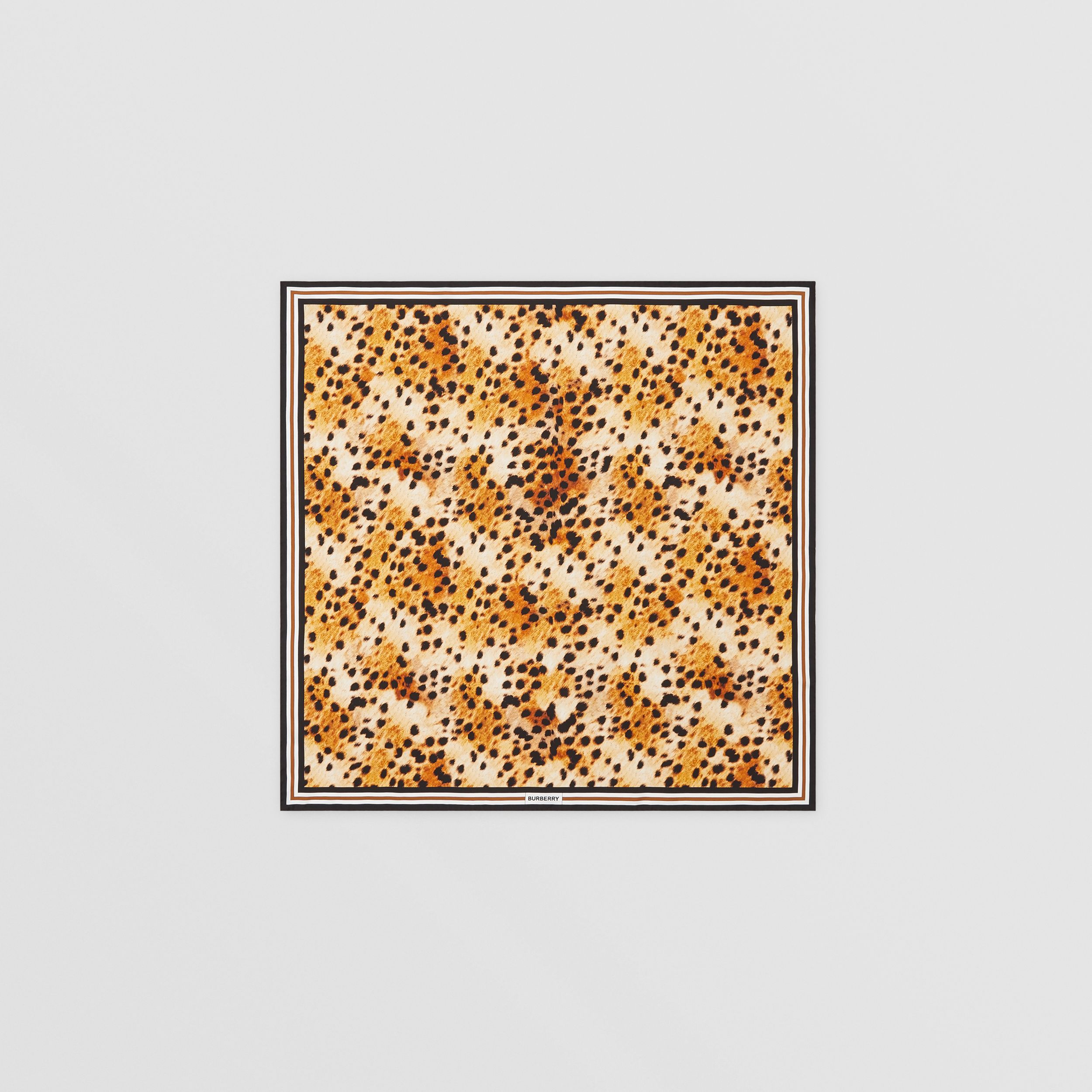 Spotted Monkey Print Silk Square Scarf in Nutmeg | Burberry - 1