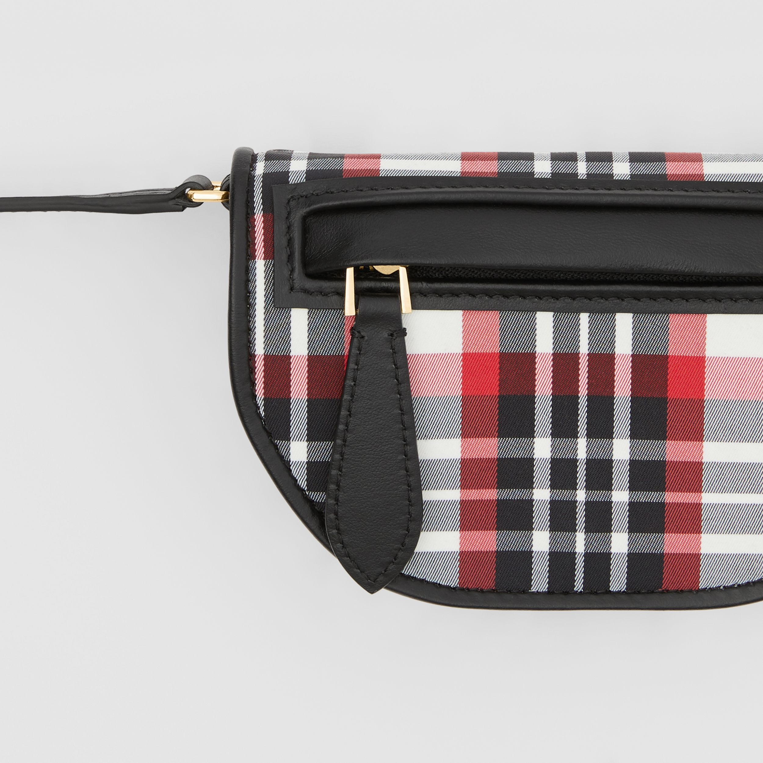 Tartan Nylon Olympia Card Case with Detachable Strap in Bright Red | Burberry United States - 2