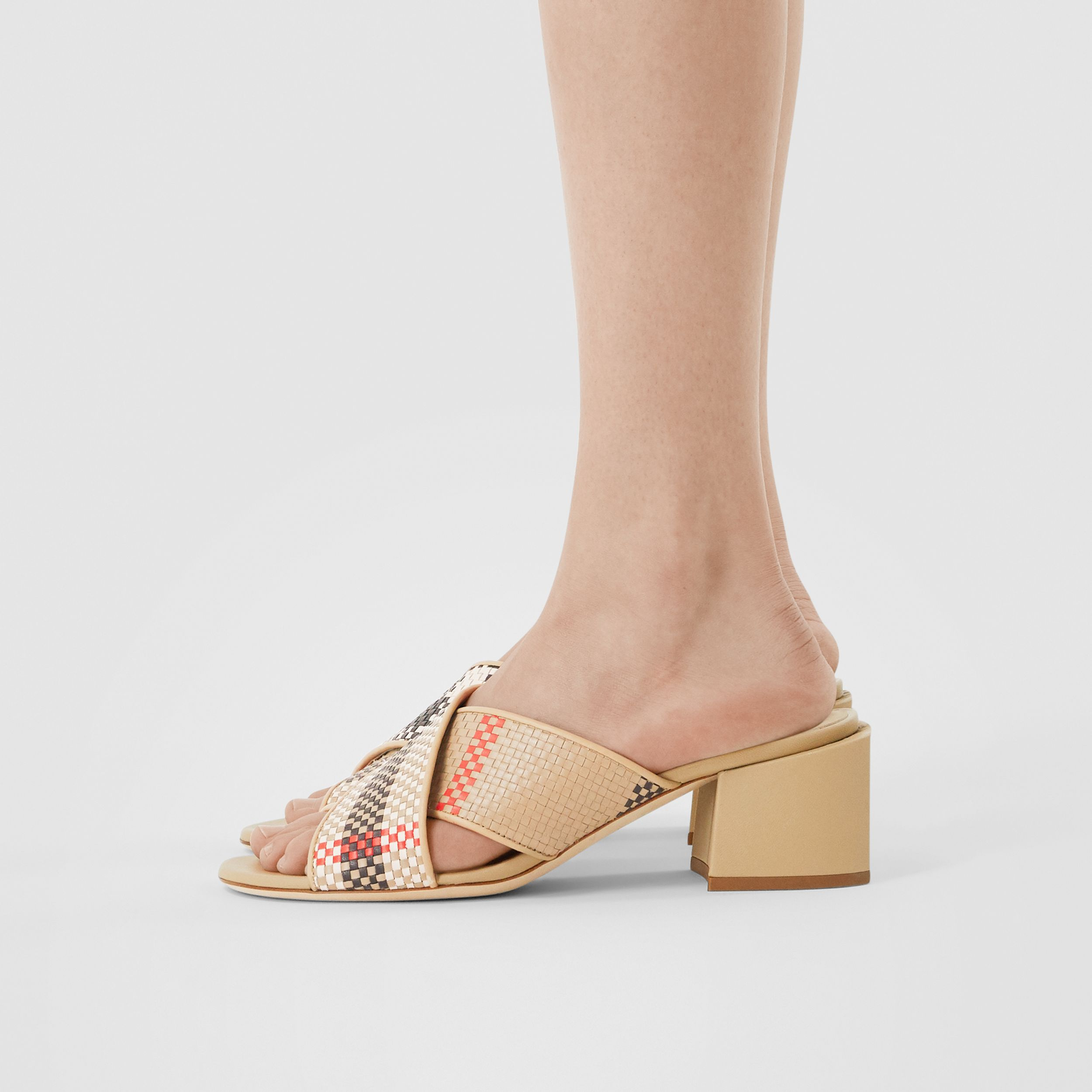 Latticed Leather Block-heel Sandals in Archive Beige - Women | Burberry - 3