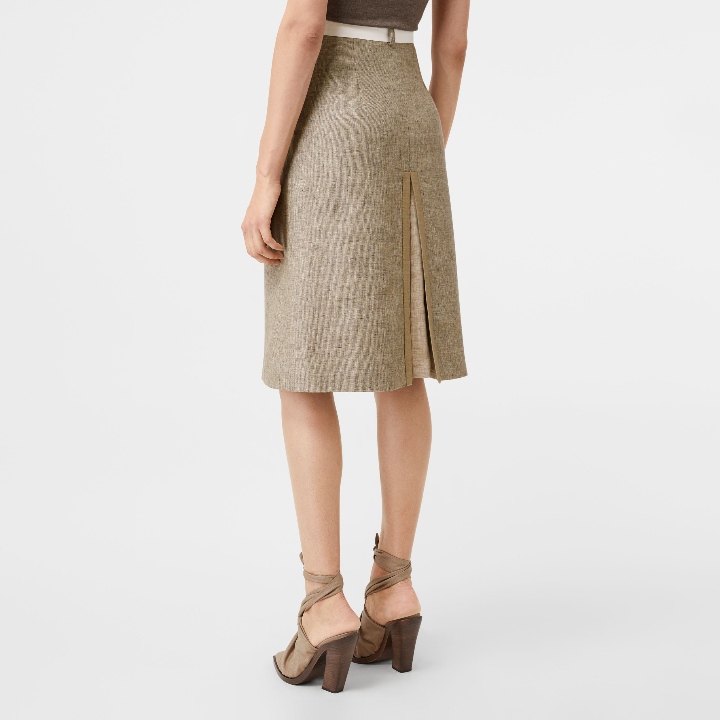 Contrast Seam and Box-pleat Detail Linen A-line Skirt in Cedar Brown Melange - Women | Burberry - 3