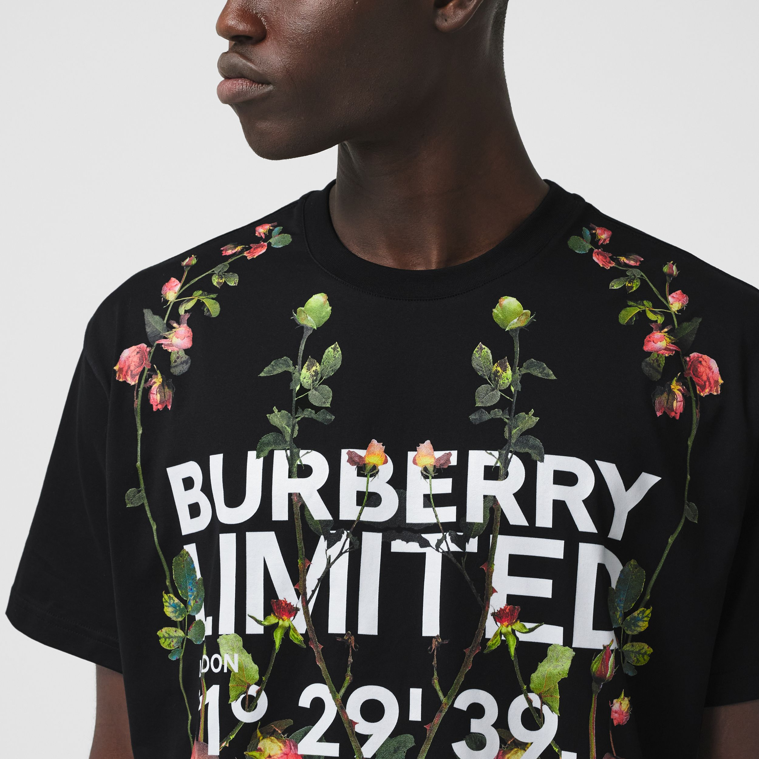 Montage Print Cotton Oversized T-shirt in Black - Men | Burberry - 2