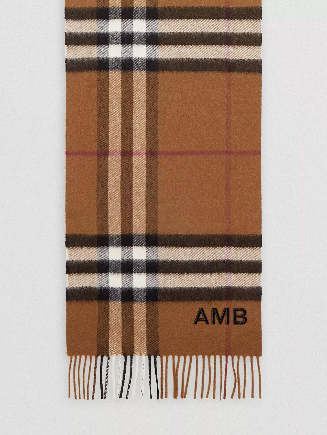 The Classic Check Cashmere Scarf in Birch Brown