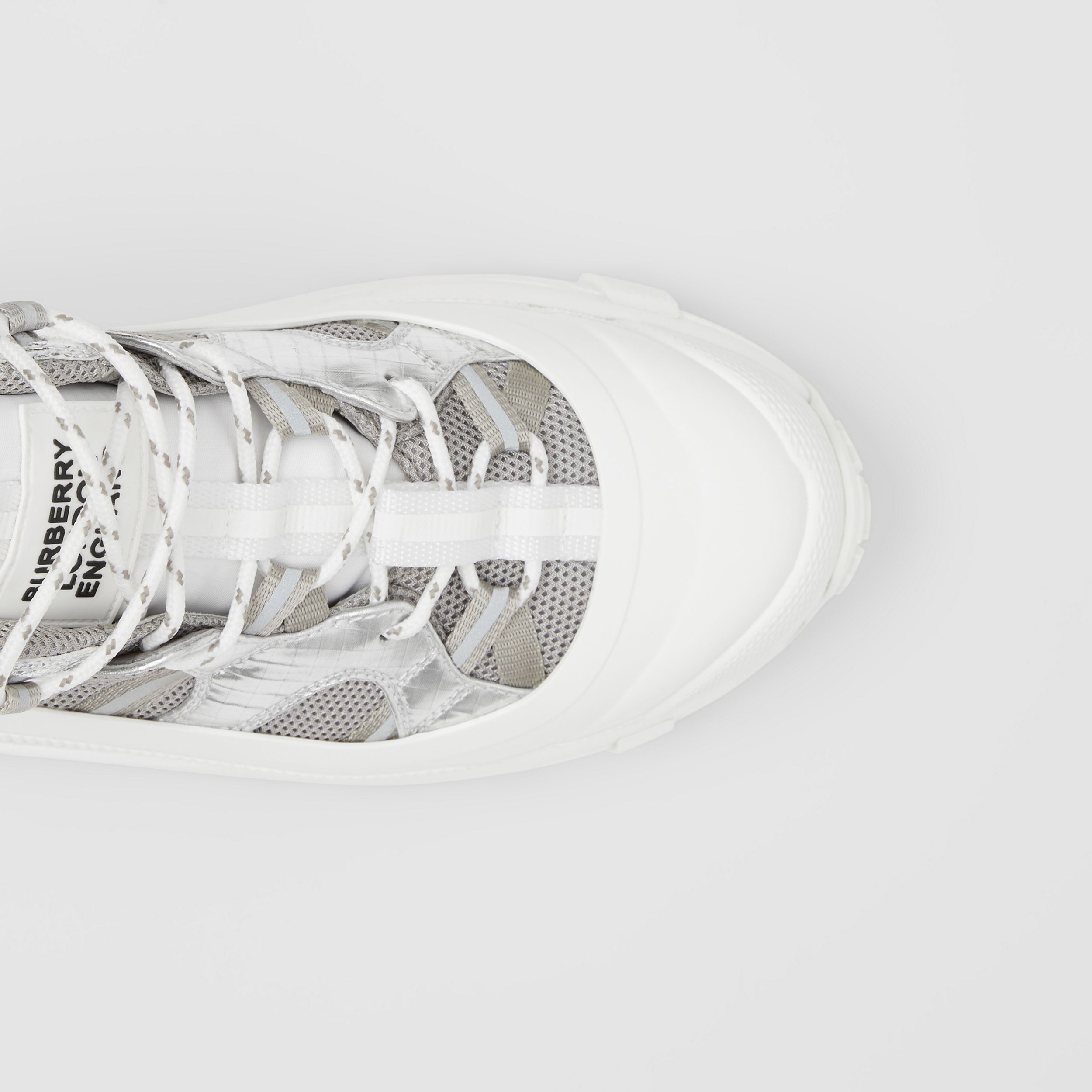 Metallic Leather, Nylon and Mesh Arthur Sneakers in Silver - Women | Burberry Canada - 2