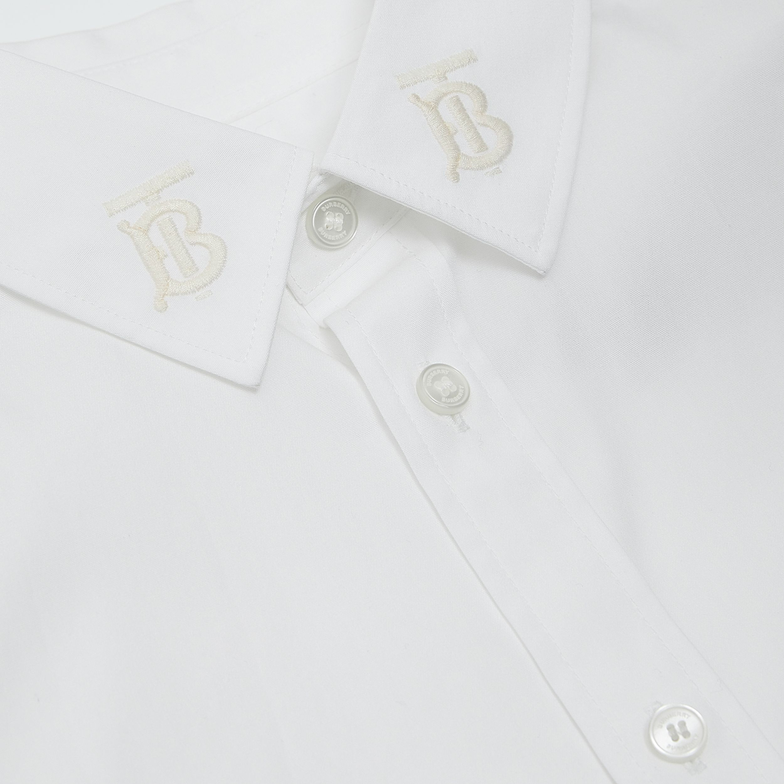 Monogram Motif Stretch Cotton Poplin Shirt | Burberry - 2