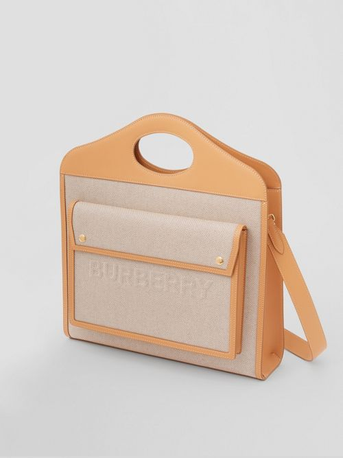 BURBERRY Canvases Medium Two-tone Canvas and Leather Pocket Bag
