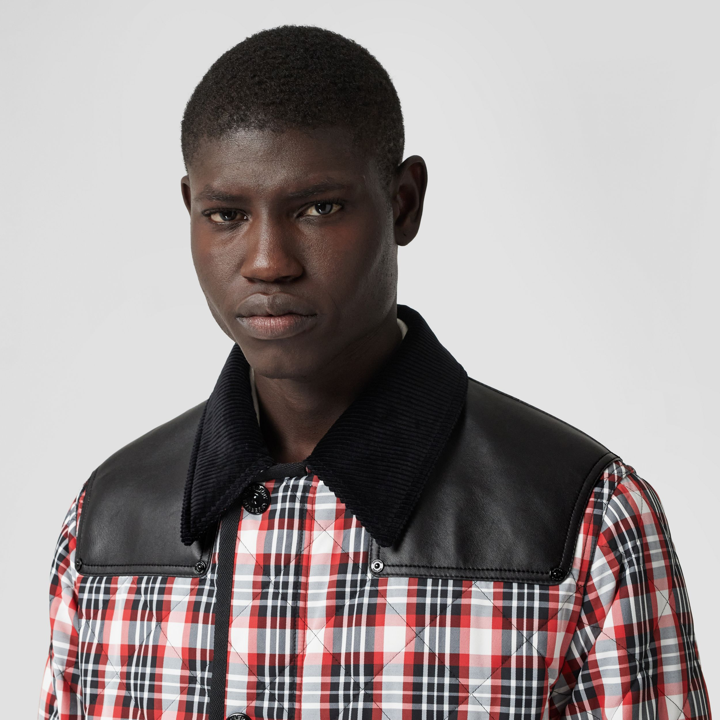 Lambskin Panel Diamond Quilted Tartan Barn Jacket in Bright Red | Burberry - 2