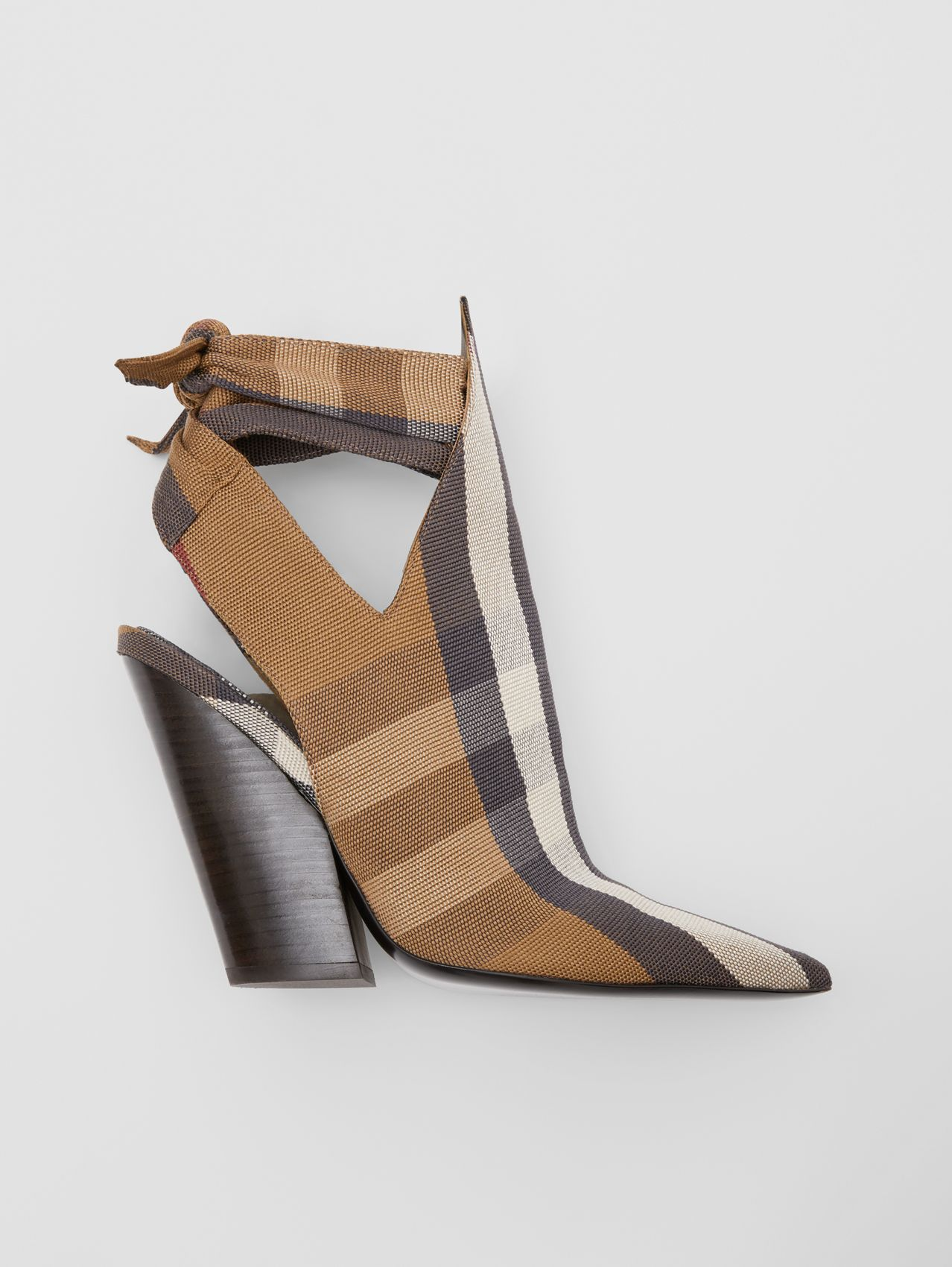 Tie Detail Check Technical Cotton Point-toe Mules in Birch Brown