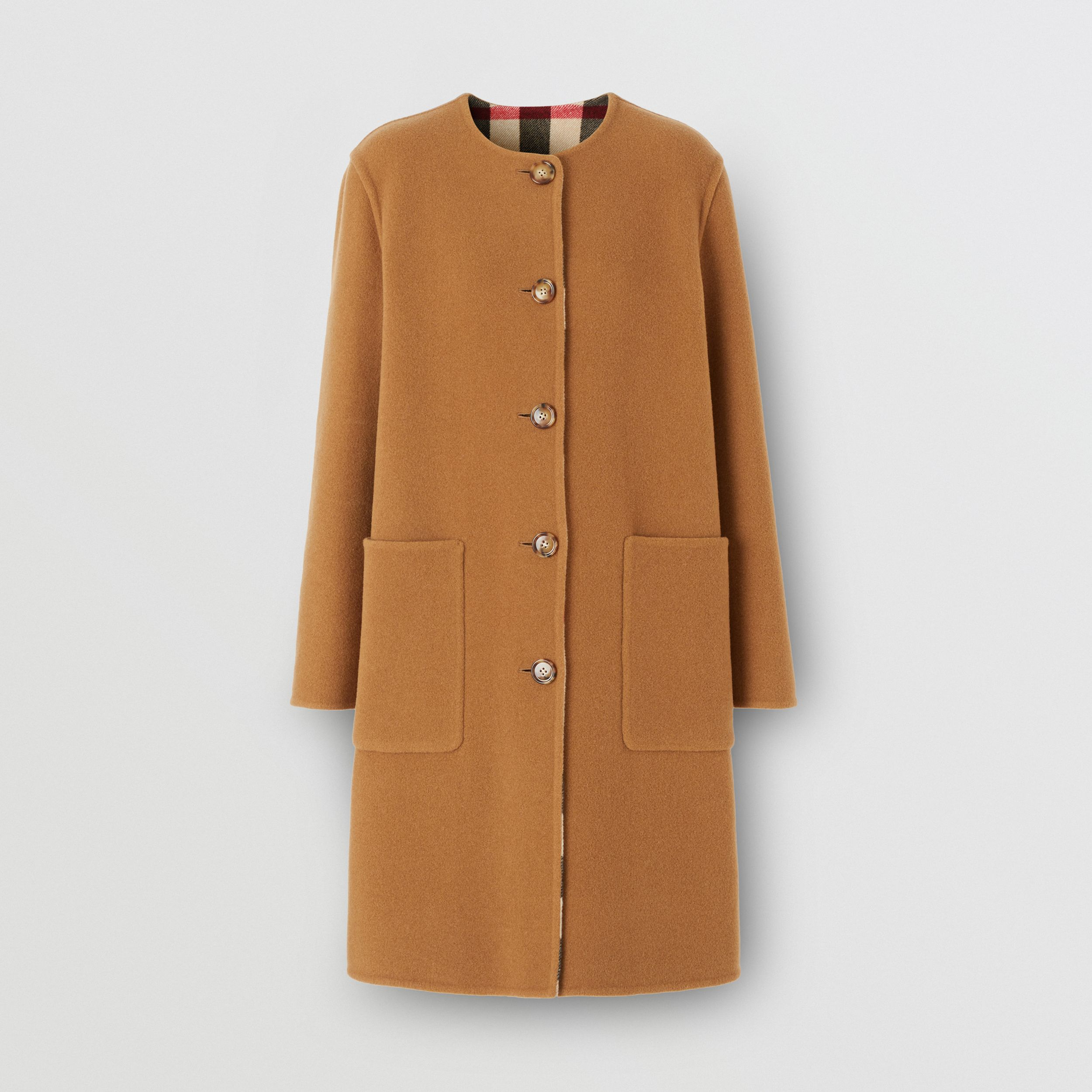 Reversible Check Technical Wool Coat in Mid Camel - Women | Burberry - 3