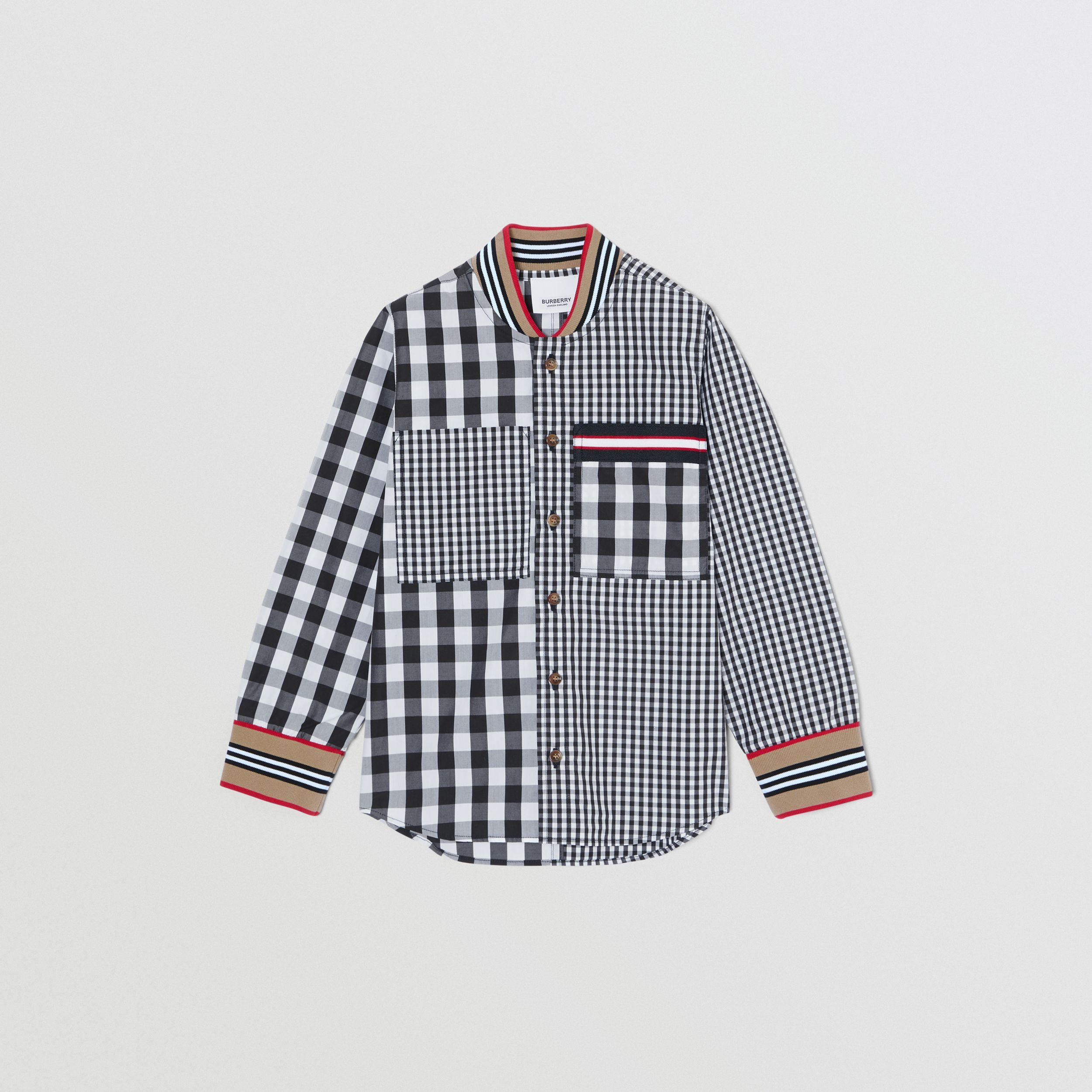 Icon Stripe Trim Gingham Cotton Shirt in Black | Burberry Hong Kong S.A.R. - 1