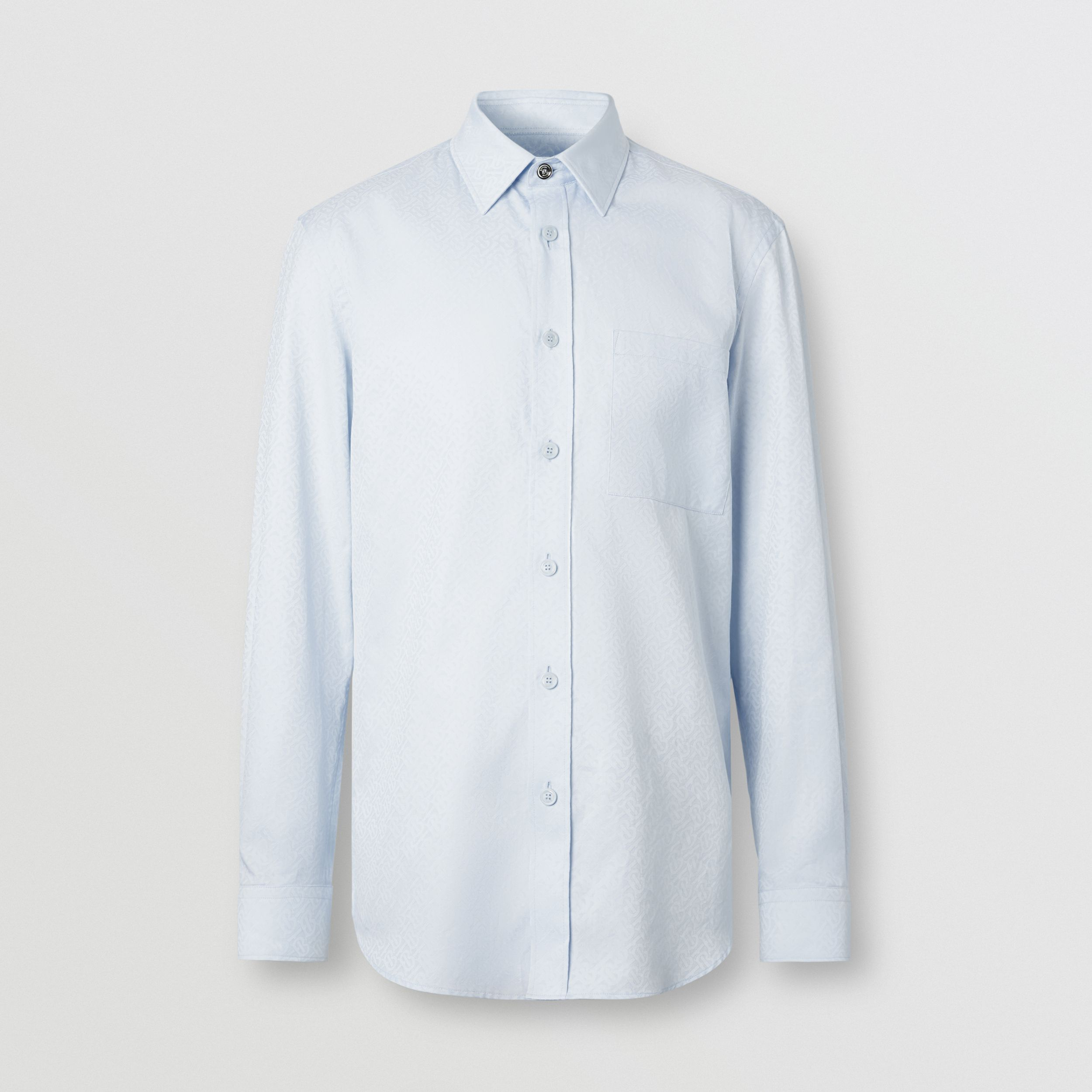 Slim Fit Monogram Cotton Jacquard Shirt - Men | Burberry - 4