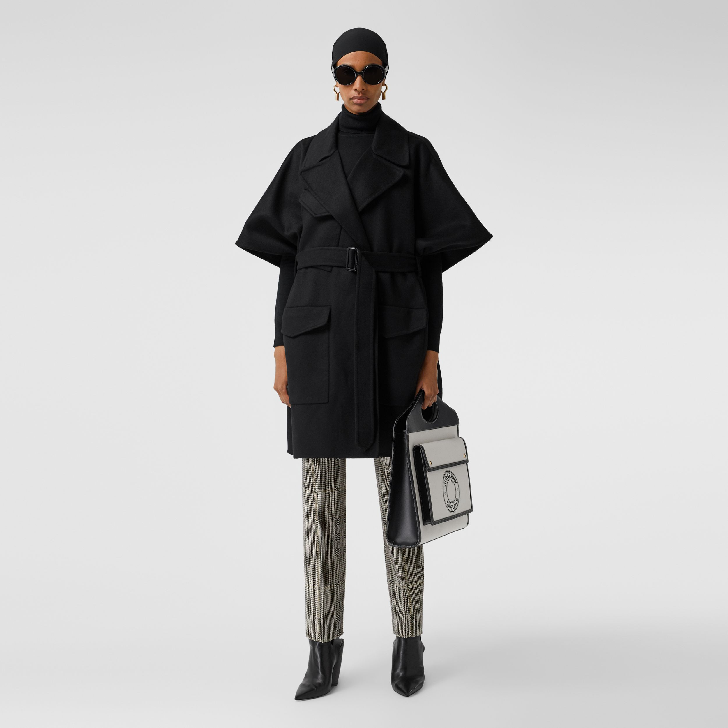 Double-faced Cashmere Belted Cape in Black - Women | Burberry - 1