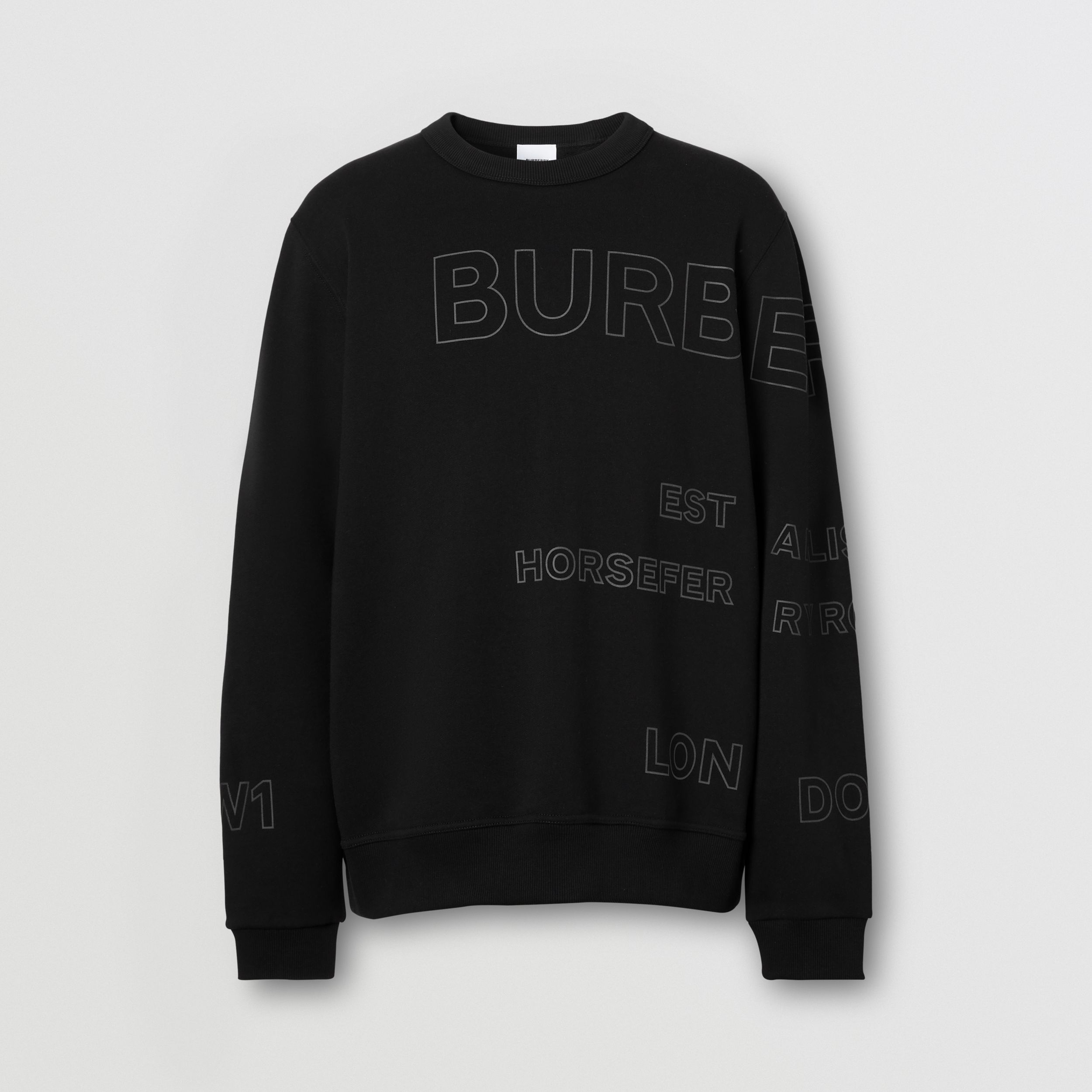 Horseferry Print Cotton Sweatshirt in Black - Men | Burberry Australia - 4