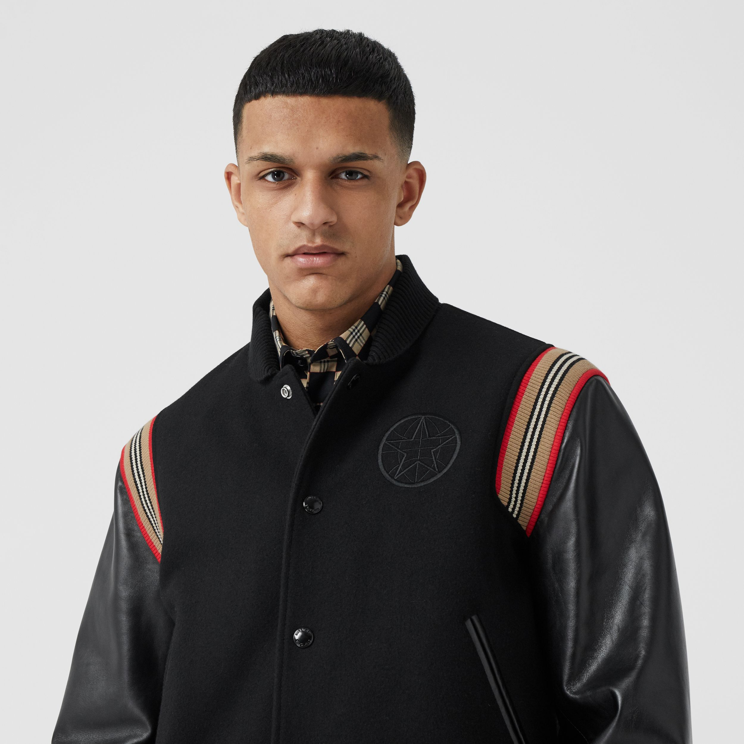 Icon Stripe Trim Wool Felt and Leather Bomber Jacket - Men | Burberry - 2