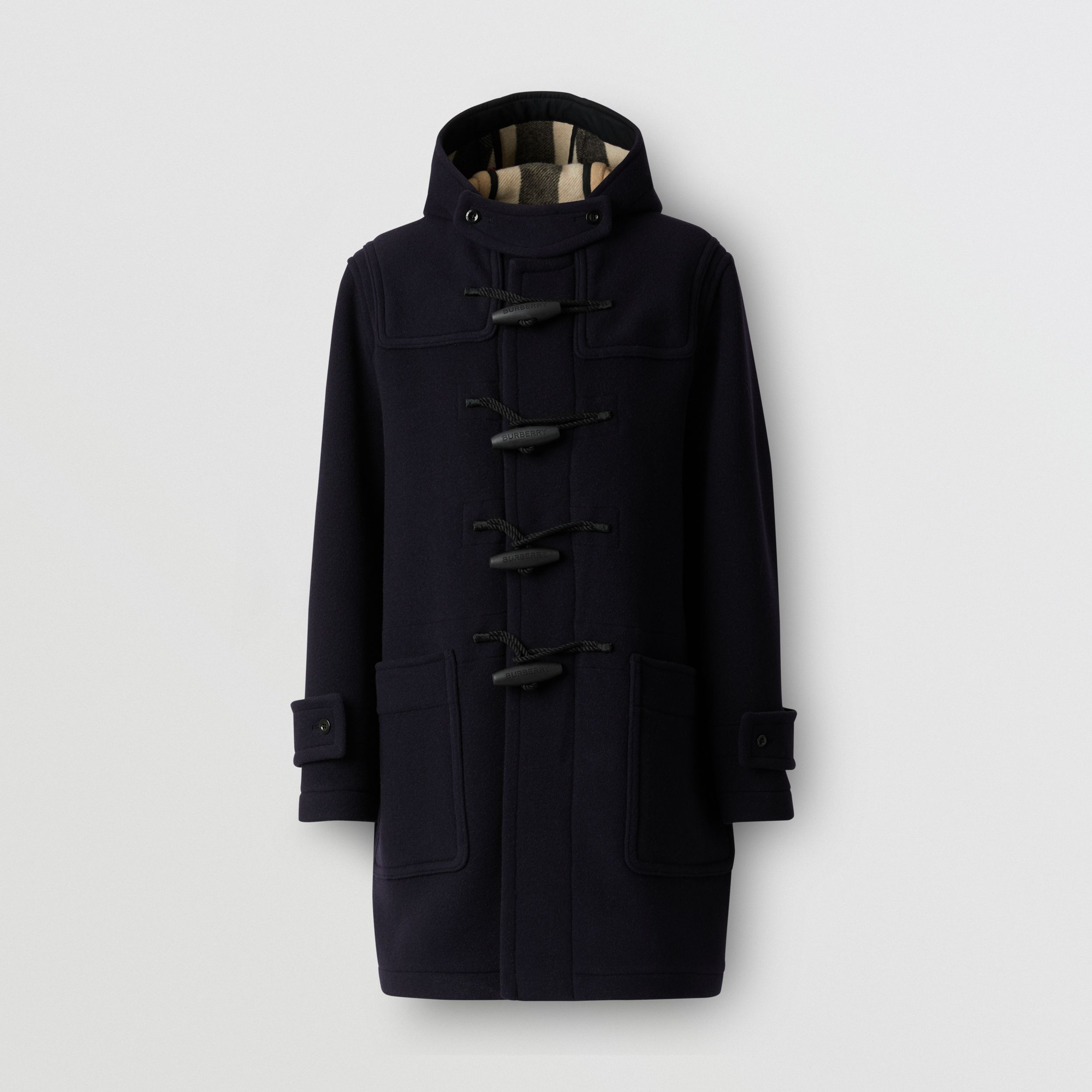 Check-lined Technical Wool Duffle Coat in Navy - Men | Burberry - 4