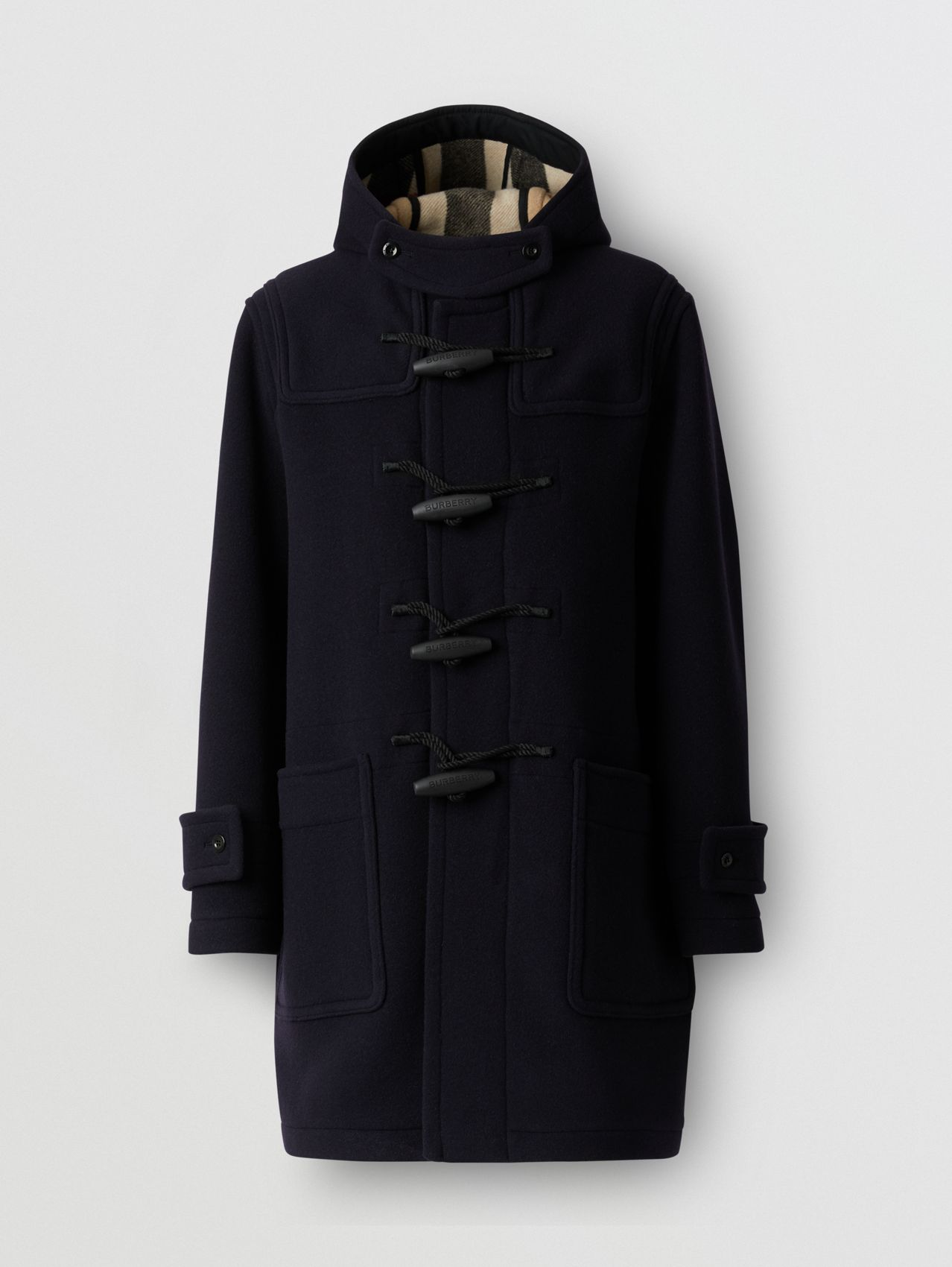 Check-lined Technical Wool Duffle Coat in Navy