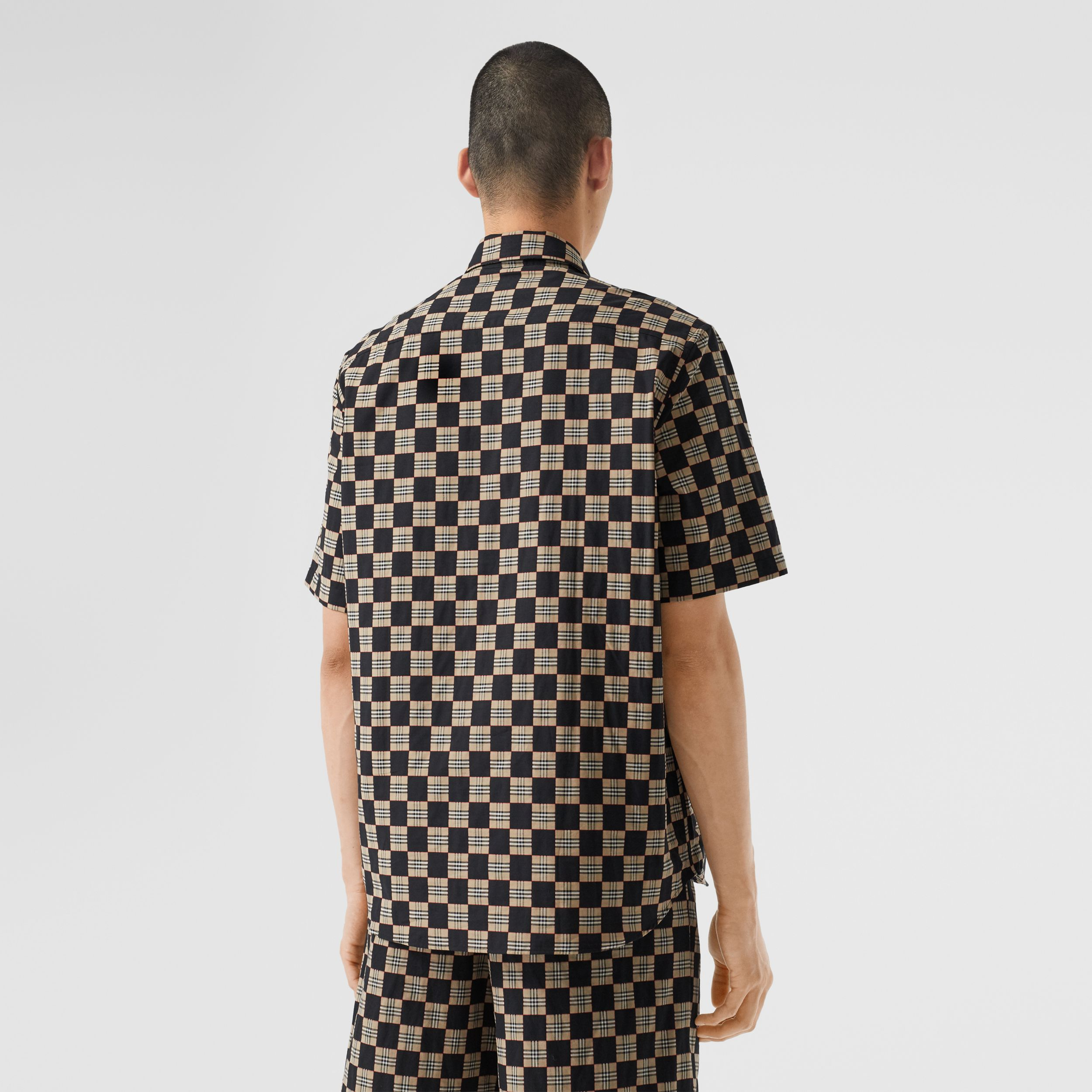 Short-sleeve Chequer Print Cotton Shirt - Men | Burberry Canada - 3