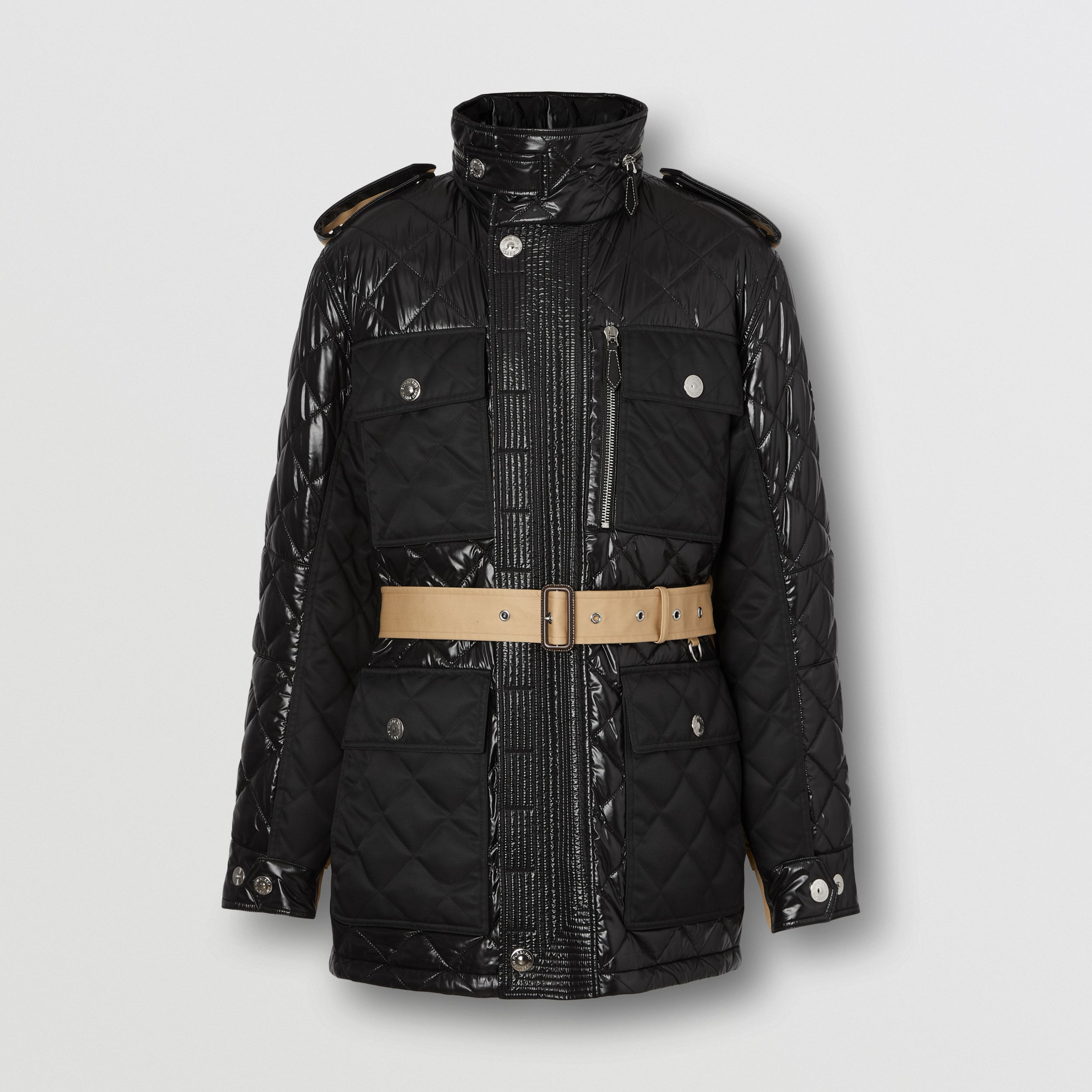 Packaway Hood Quilted Nylon and Cotton Field Jacket in Black | Burberry - 4