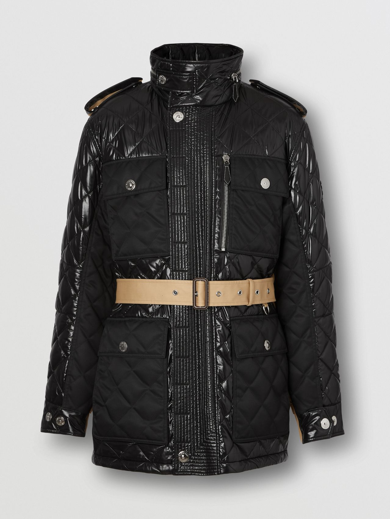 Packaway Hood Quilted Nylon and Cotton Field Jacket in Black