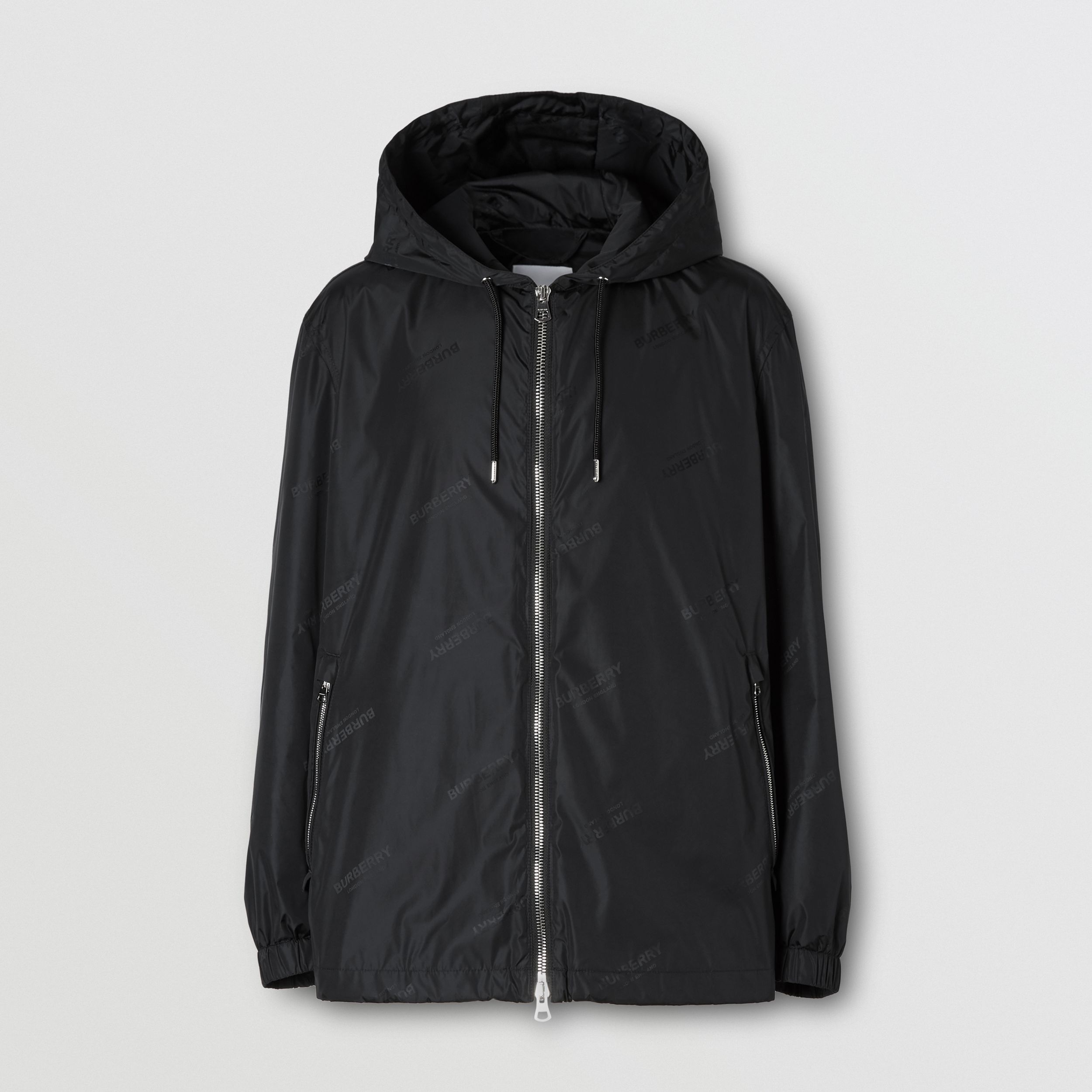 Logo Jacquard ECONYL® Hooded Jacket in Black - Men | Burberry - 4