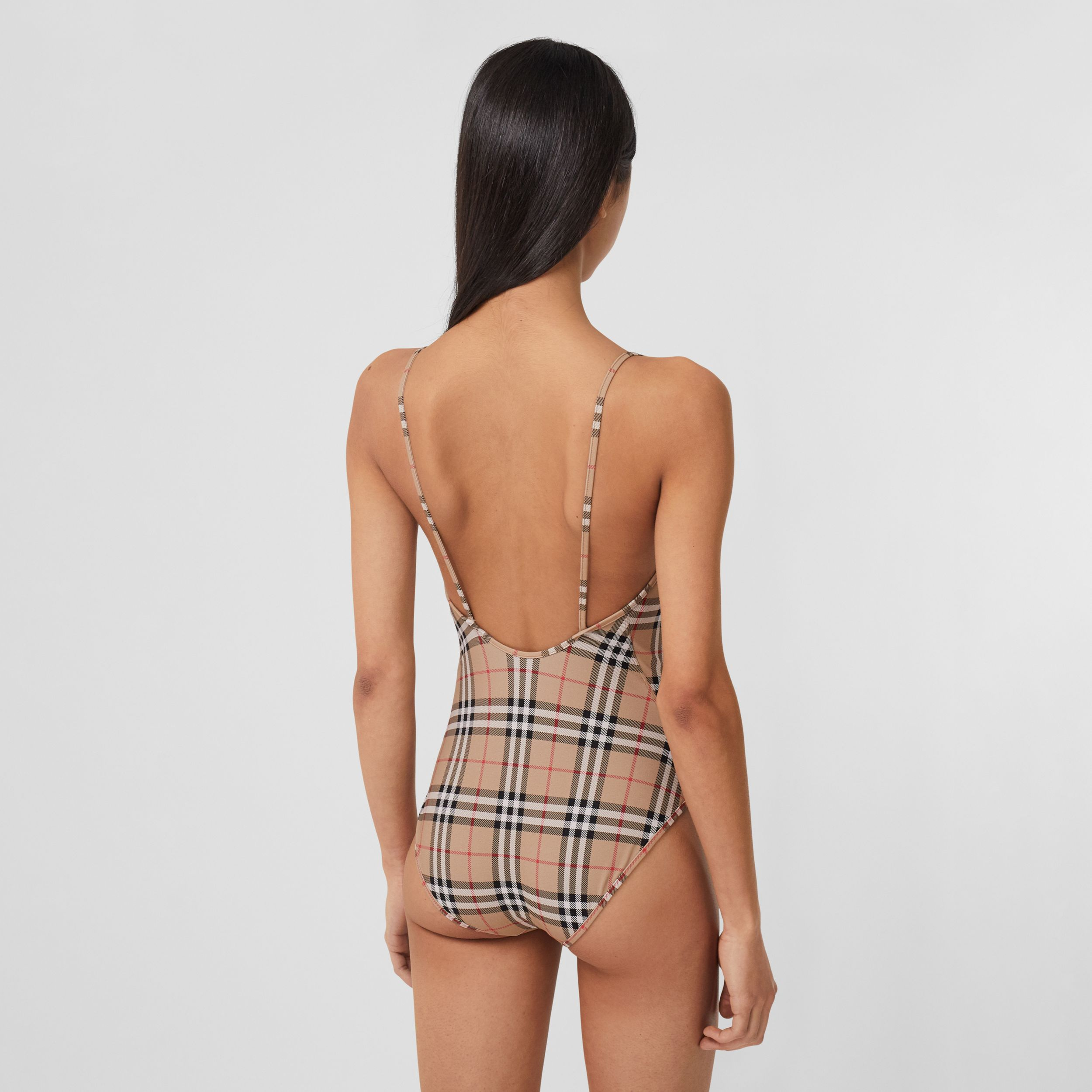Vintage Check Swimsuit in Archive Beige - Women | Burberry - 2