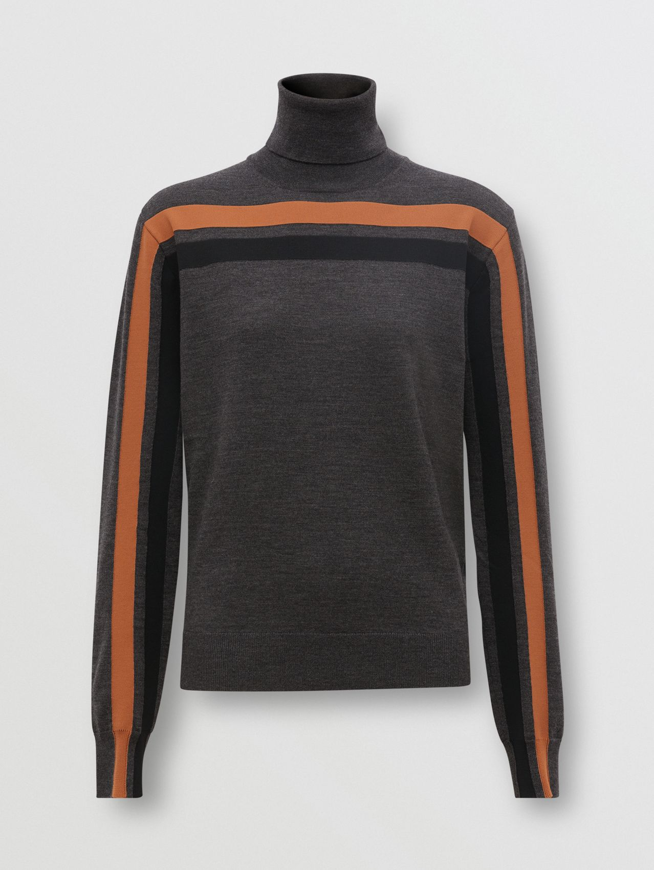Stripe Intarsia Merino Wool Roll-neck Sweater in Dark Grey Melange