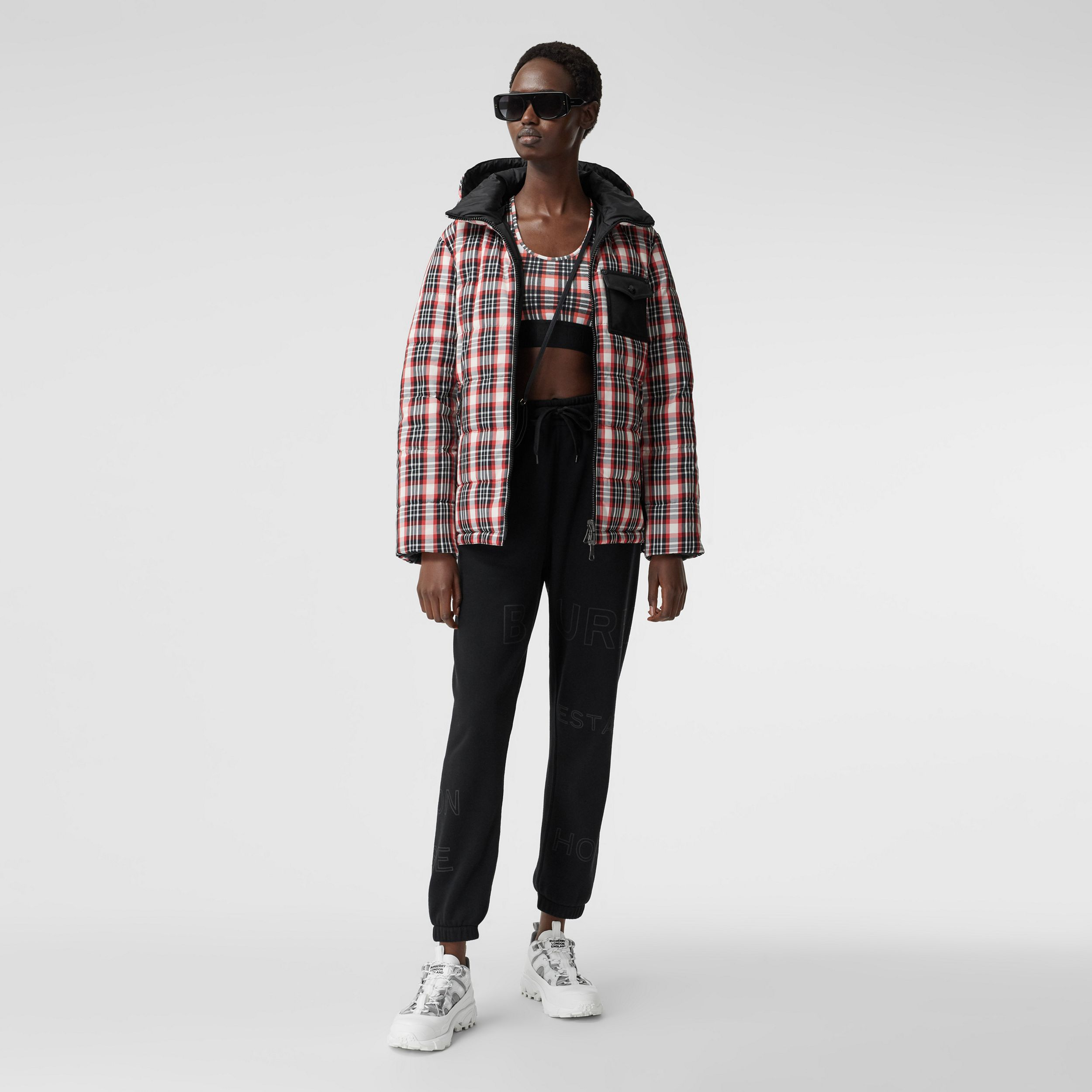 Reversible Tartan Nylon Puffer Jacket in Bright Red - Women | Burberry - 1