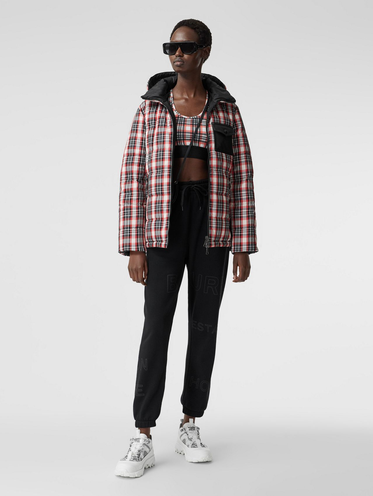 Reversible Tartan Nylon Puffer Jacket in Bright Red