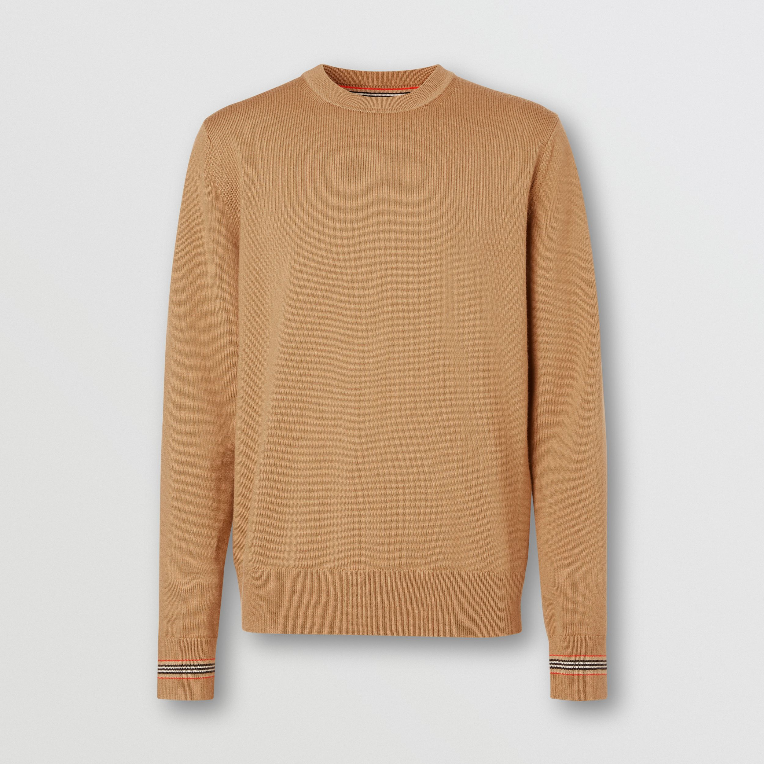 Icon Stripe Trim Merino Wool Sweater in Camel - Men | Burberry United Kingdom - 4