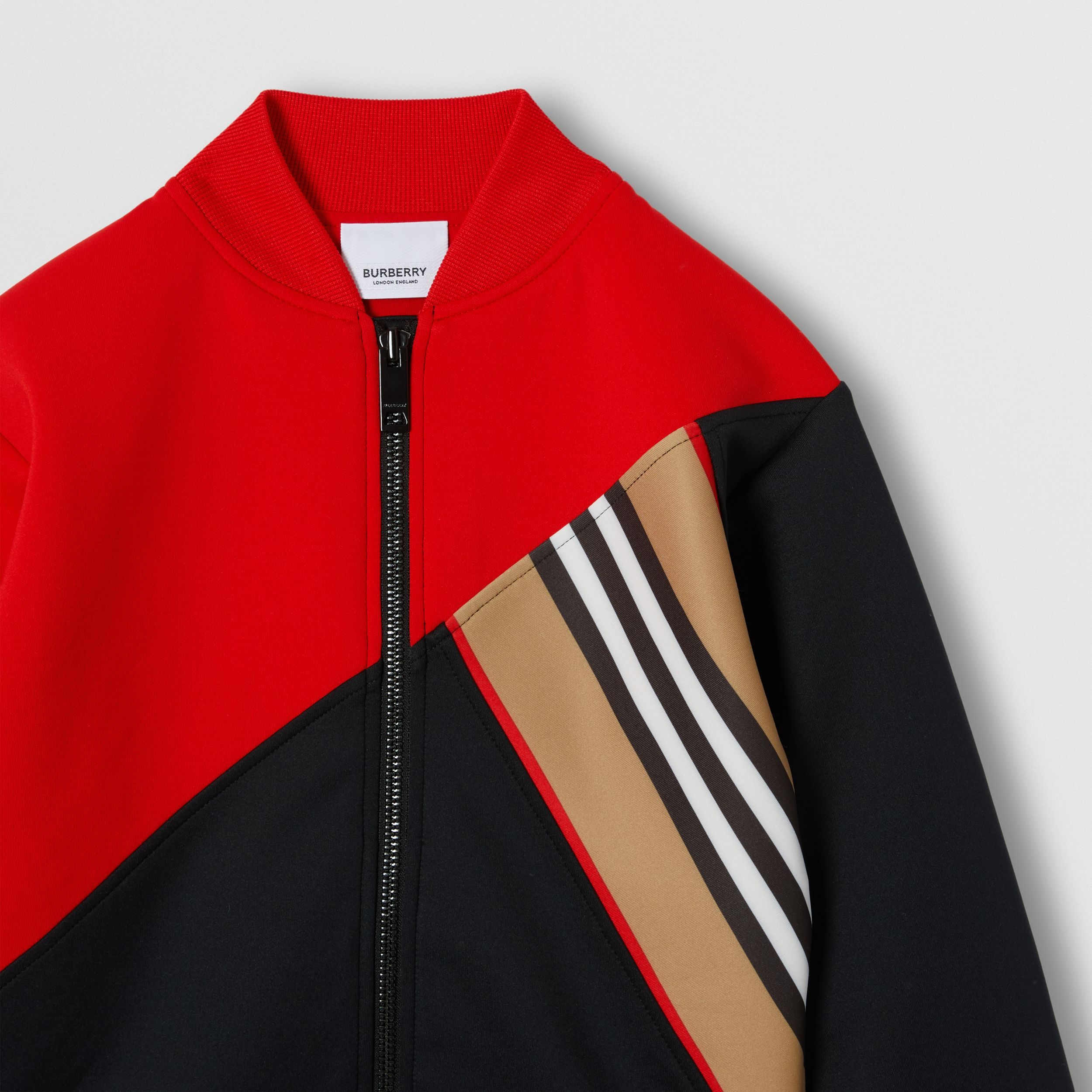 Icon Stripe Detail Stretch Jersey Track Top in Bright Red | Burberry - 4