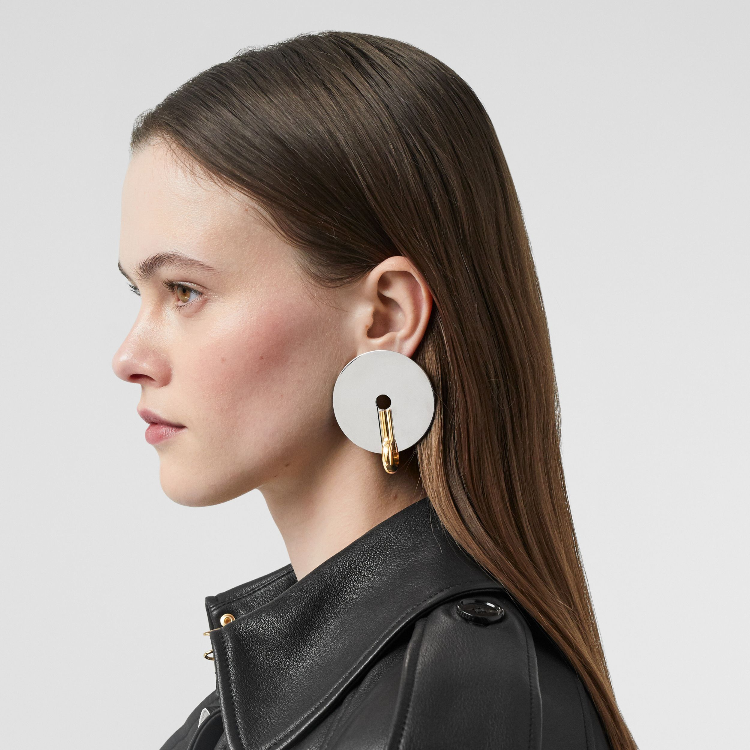 Palladium and Gold-plated Disc Earrings in Palladium/light - Women | Burberry Canada - 3