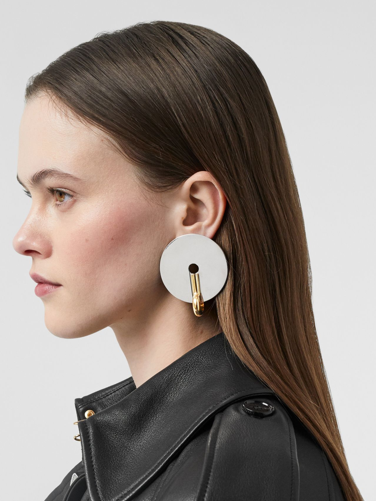 Palladium and Gold-plated Disc Earrings in Palladium/light