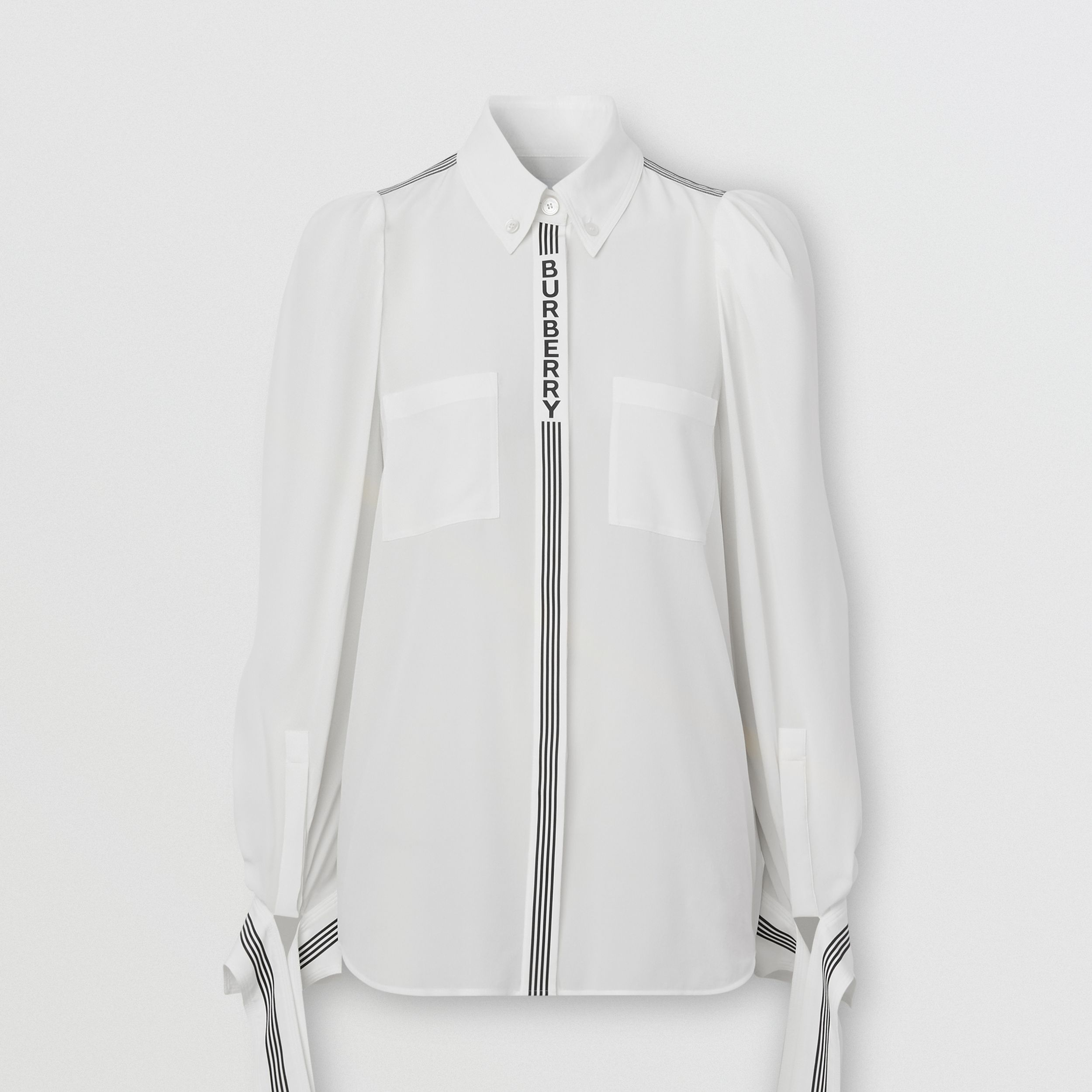 Logo Print Silk Crepe De Chine Shirt in White - Women | Burberry United Kingdom - 4